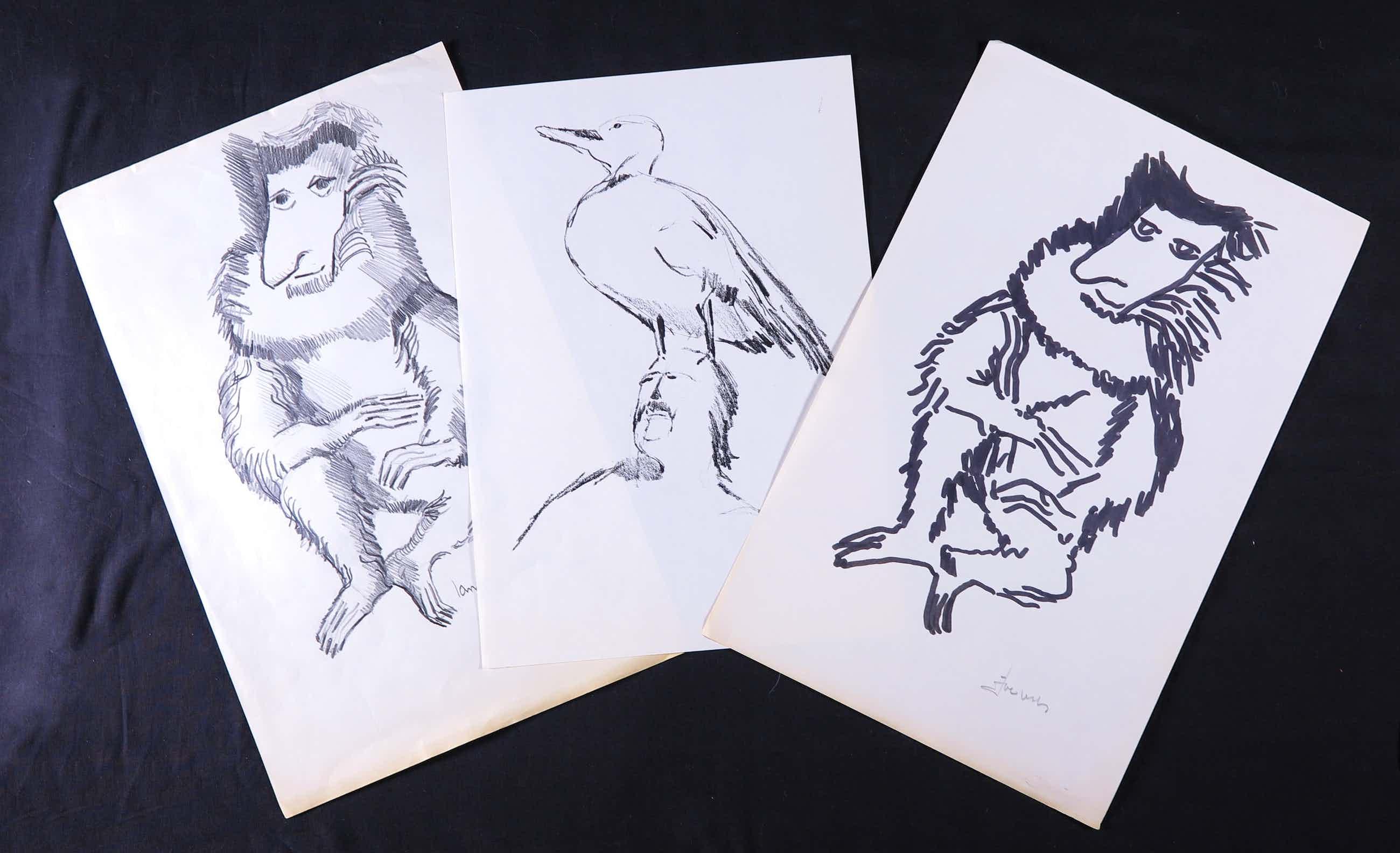 Joe Wols - Lot van drie tekeningen op papier, Langneusaap en vogel op hoofd kopen? Bied vanaf 1!