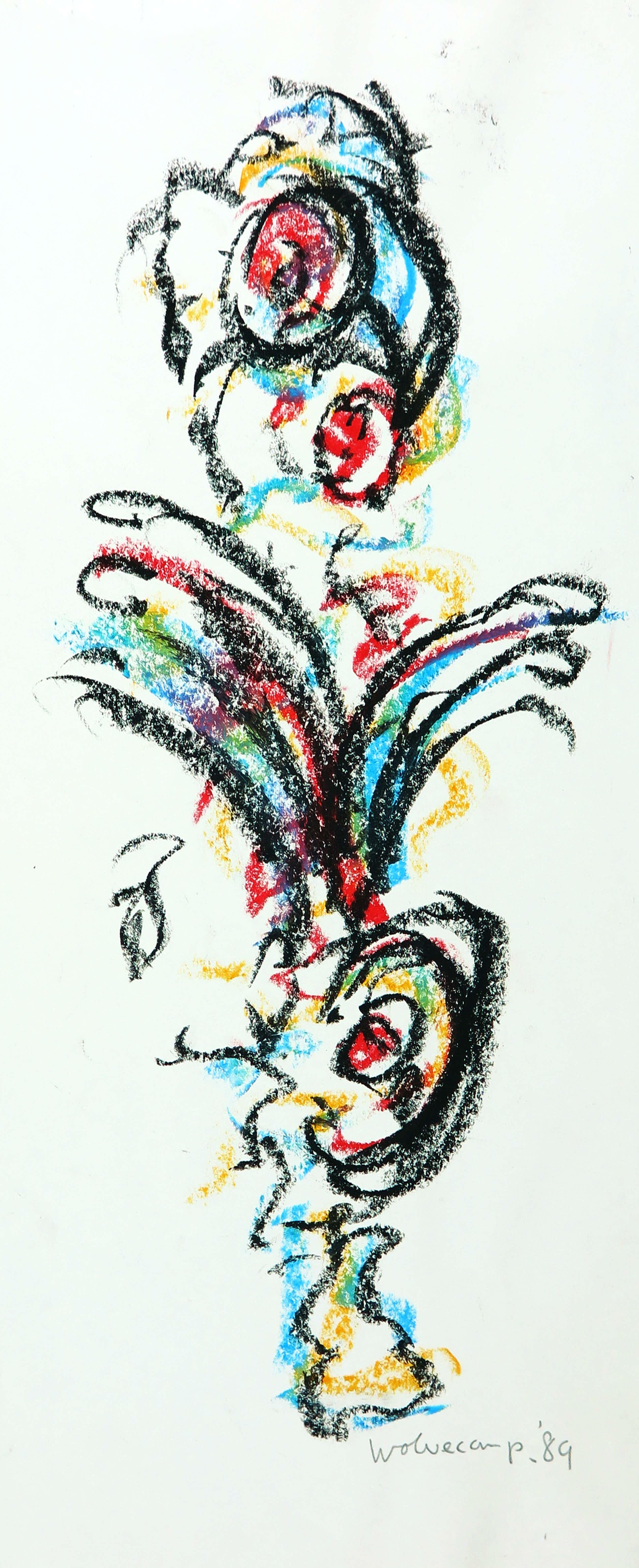 Theo Wolvecamp - Pastelkrijt, Compositie met figuren kopen? Bied vanaf 280!