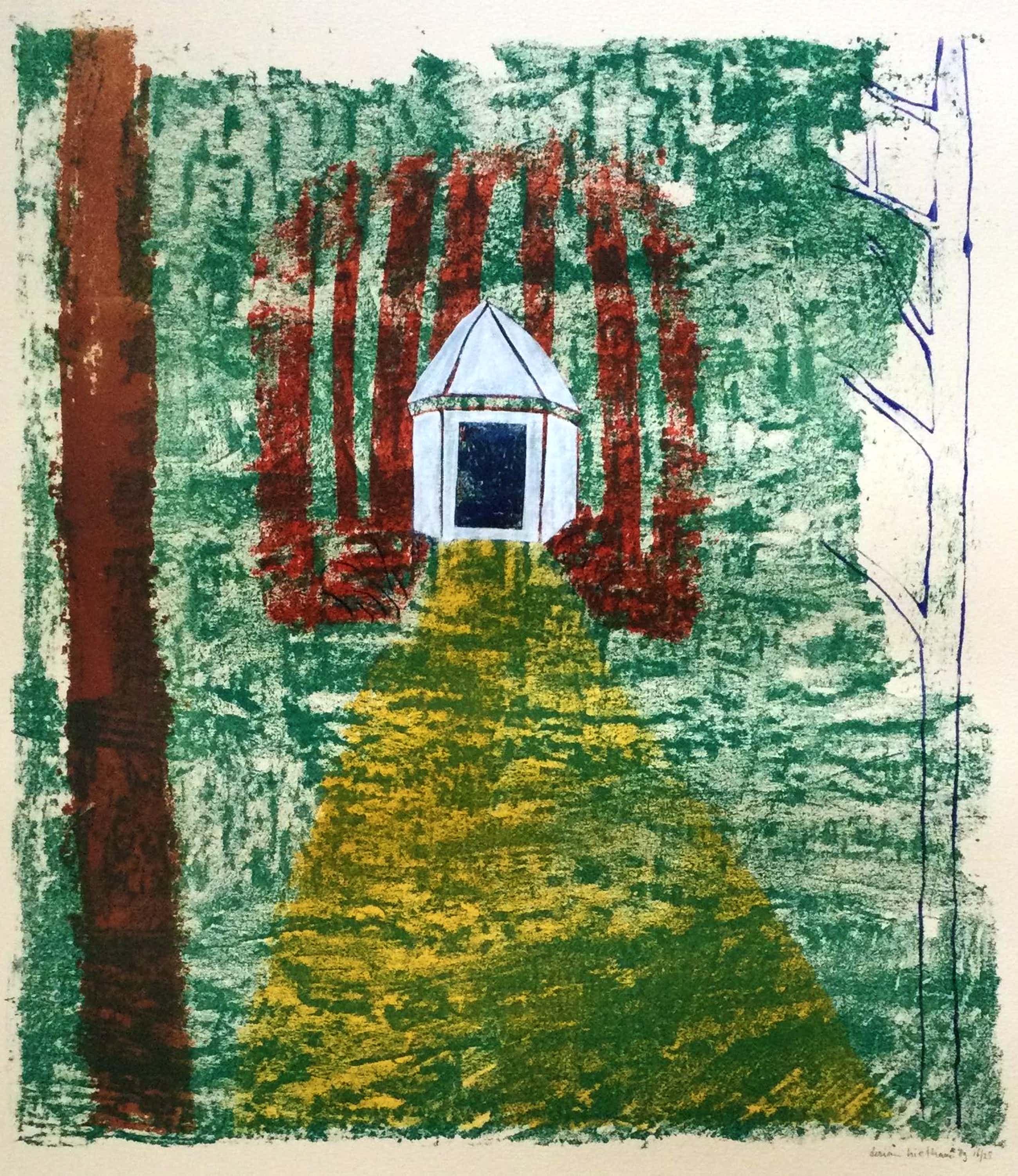 Dorian Hiethaar - Wit prieel in het bos | kleurlitho (ingelijst) kopen? Bied vanaf 30!
