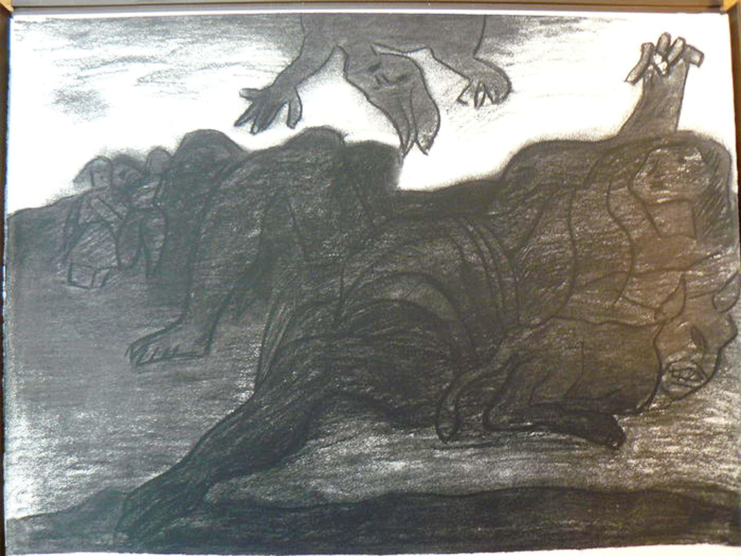 Jan Sierhuis - Hommage aan Max Ernst - gesigneerde grafiek -- 1977 kopen? Bied vanaf 15!
