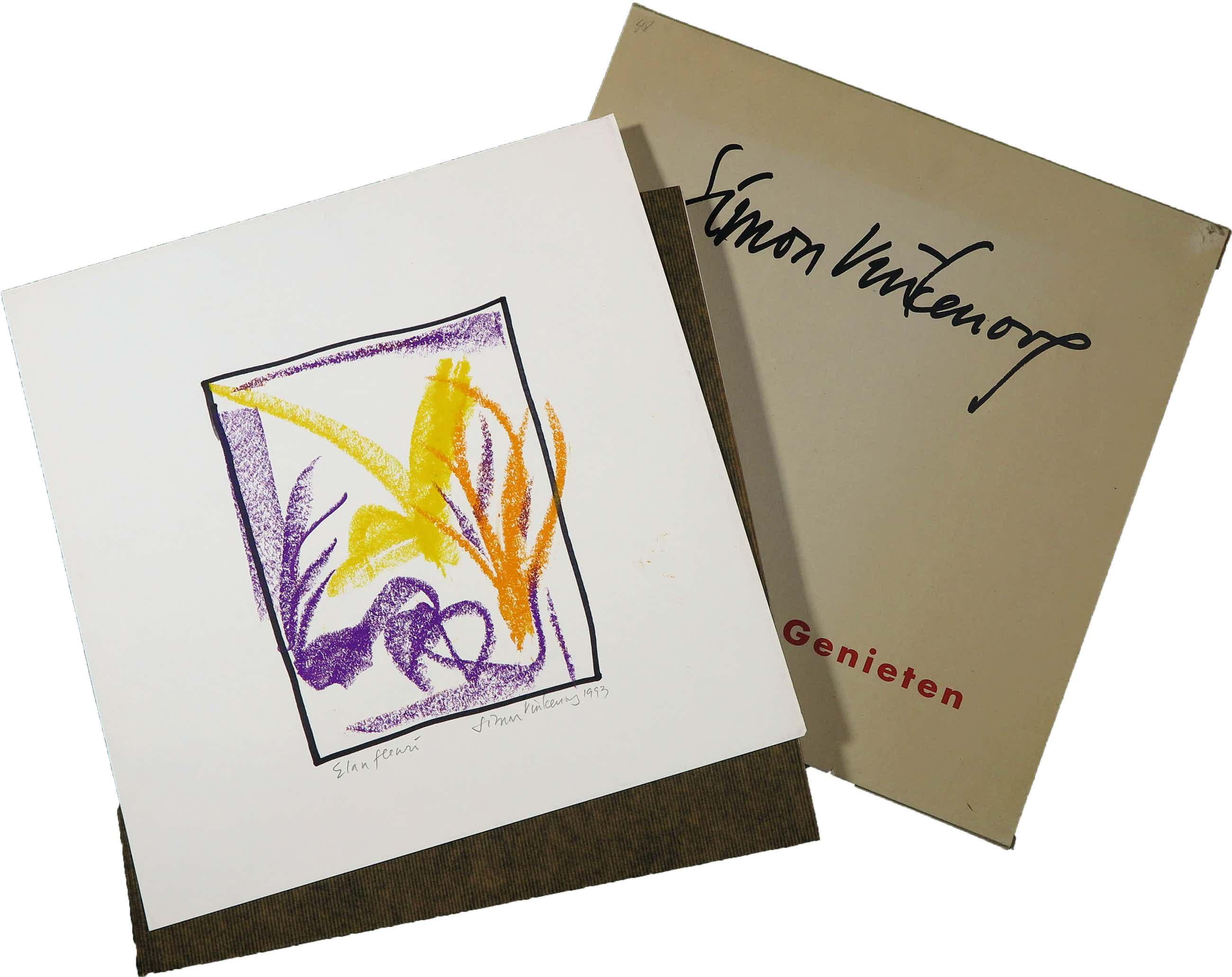 Simon Vinkenoog - Vetkrijt op papier, Elan fleuri + tentoonstellingscatalogus 'Louter Genieten' kopen? Bied vanaf 50!