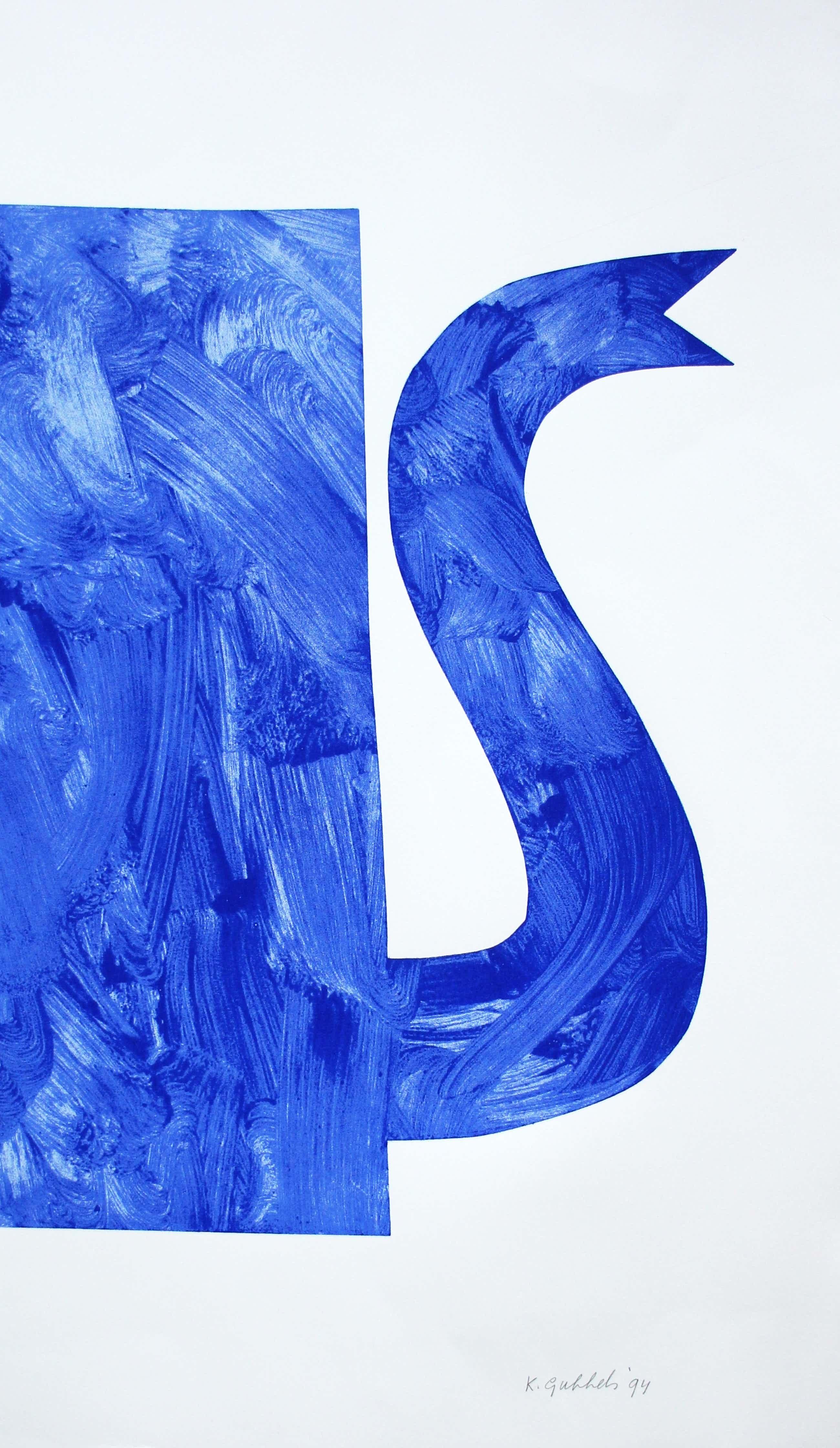 Klaas Gubbels - grote zeefdruk: blauwe kan - 1994 kopen? Bied vanaf 375!