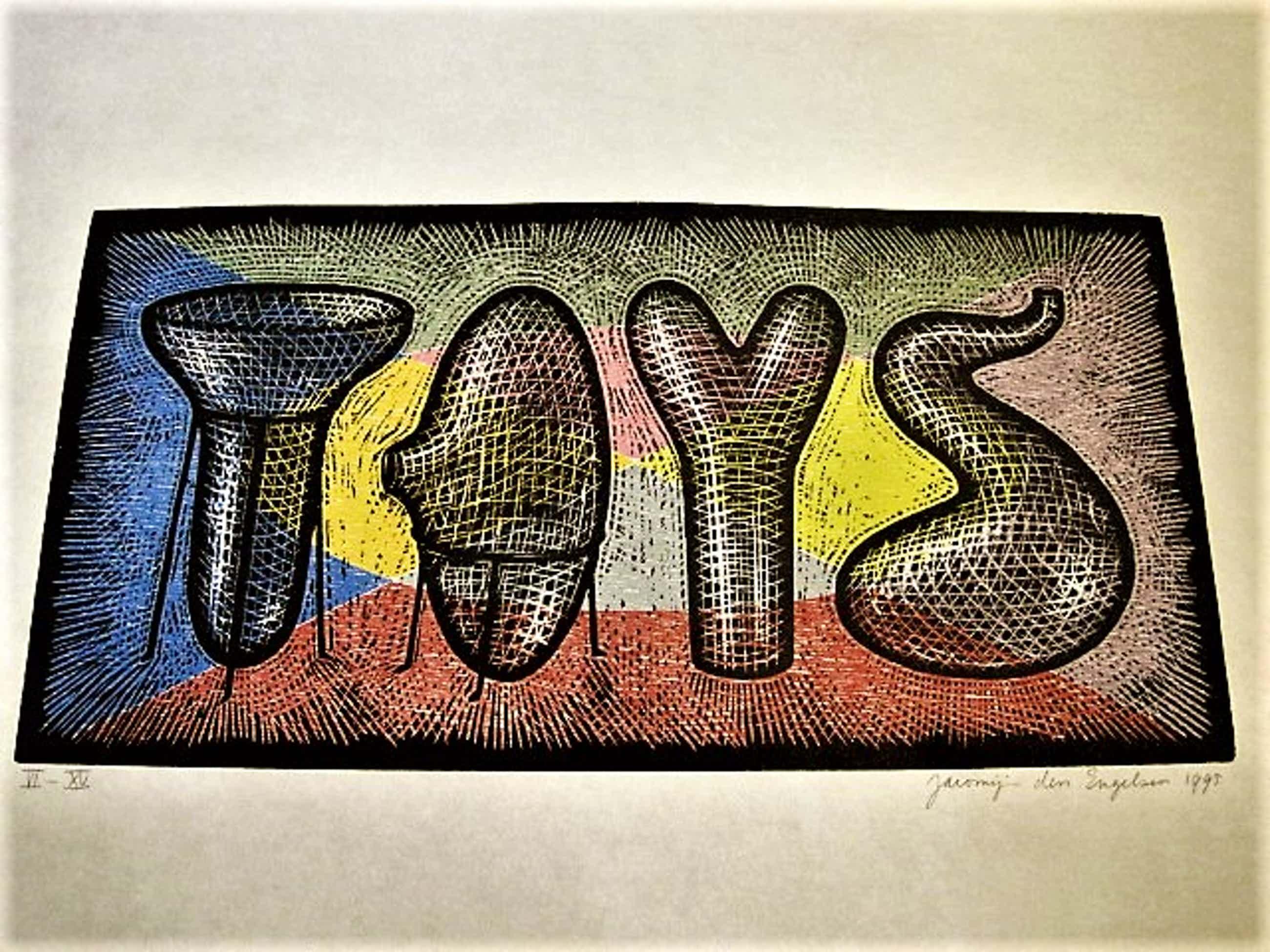 """Jacomijn den Engelsen - Kleine Oplage (15 ex) originele PoP-Art Houtsnede """"Toys"""" kopen? Bied vanaf 30!"""
