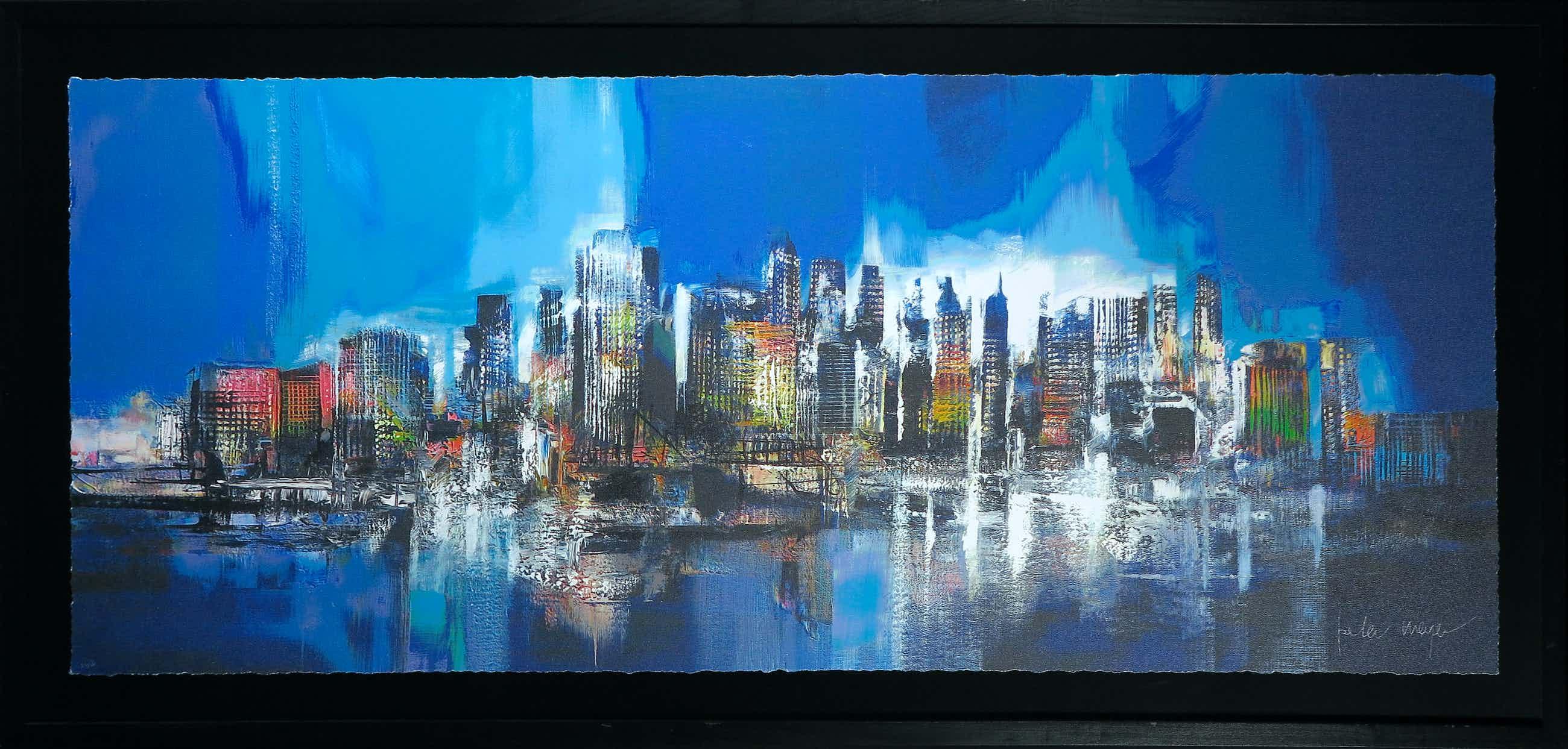 Peter Meijer - Zeefdruk, Manhattan skyline bleu - Ingelijst (Groot) kopen? Bied vanaf 200!