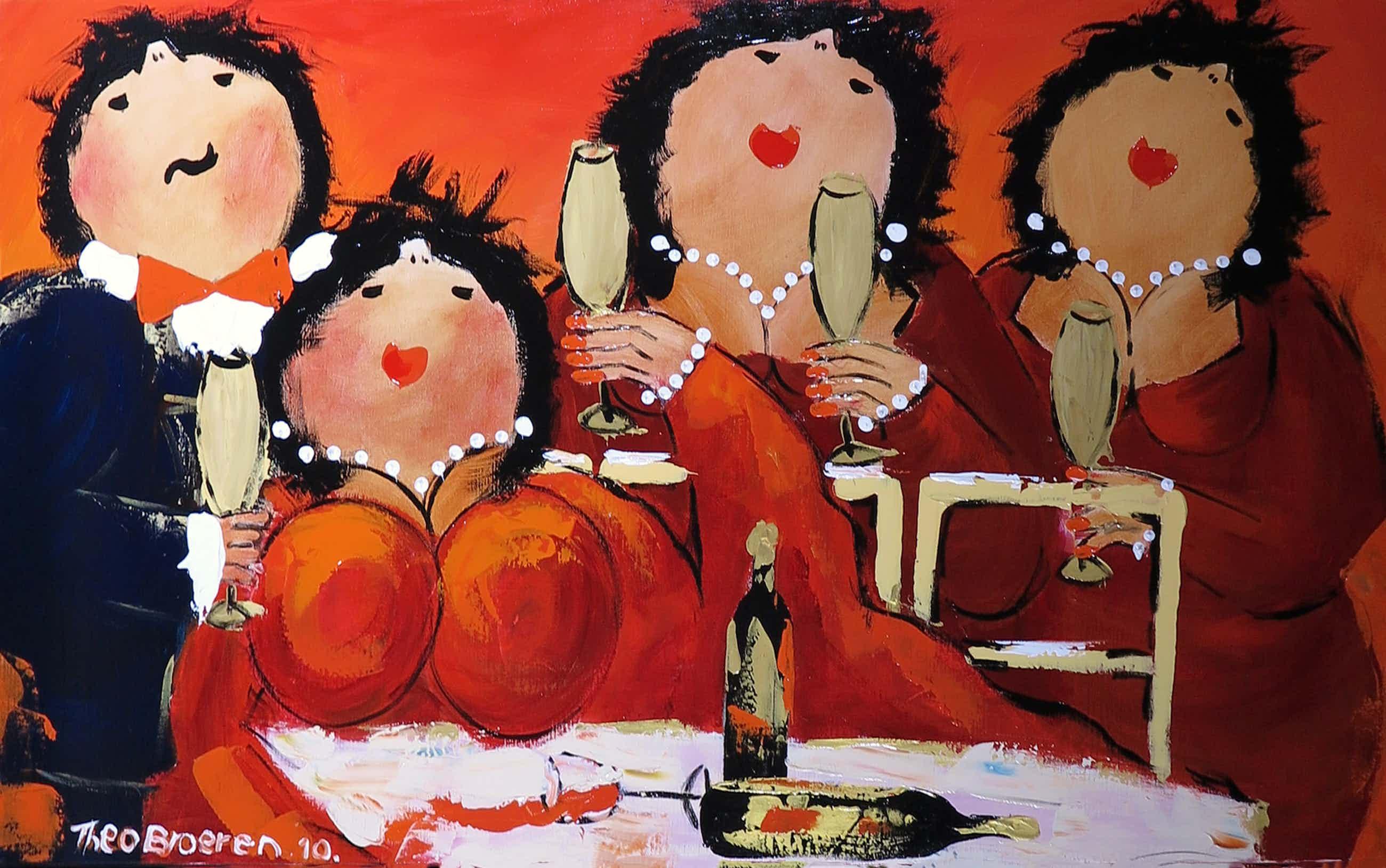 Theo Broeren - Acryl op doek, Wijnen, wijnen! (Zeer groot) kopen? Bied vanaf 110!