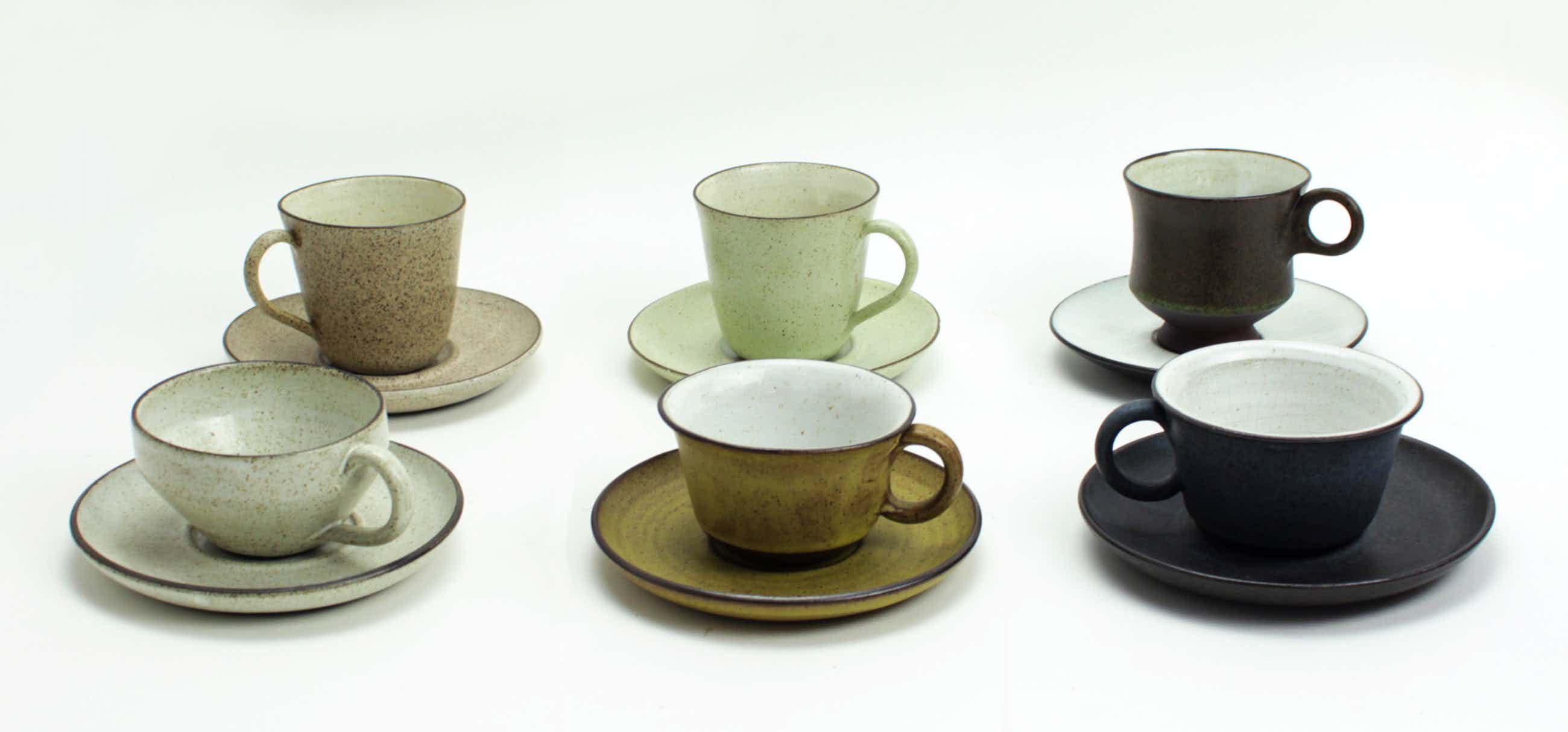 Potterij Zaalberg - 6 aardewerk kop en schotels kopen? Bied vanaf 20!