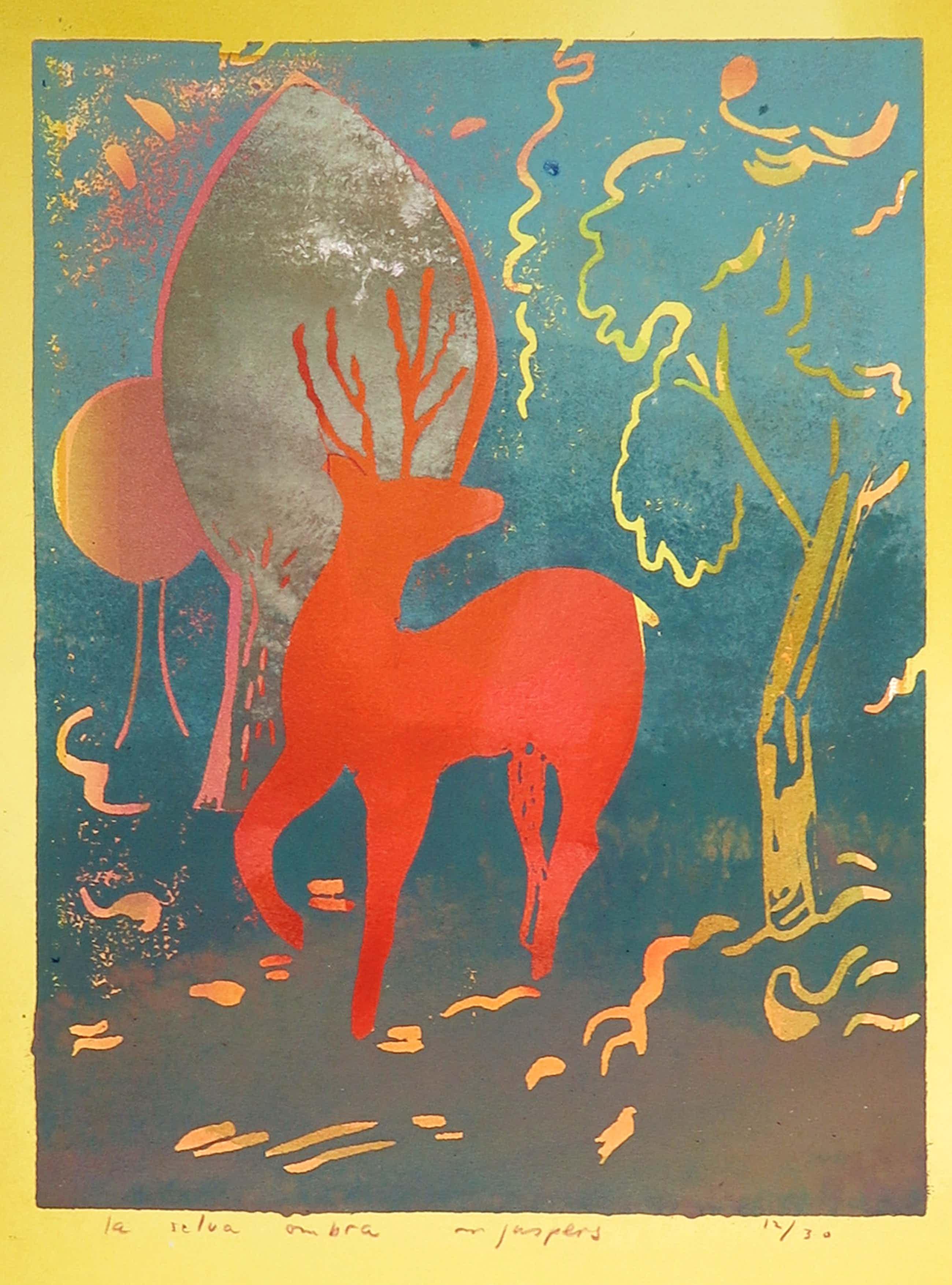 Marjan Jaspers - Linosnede op papier, La Selva Ombre kopen? Bied vanaf 35!