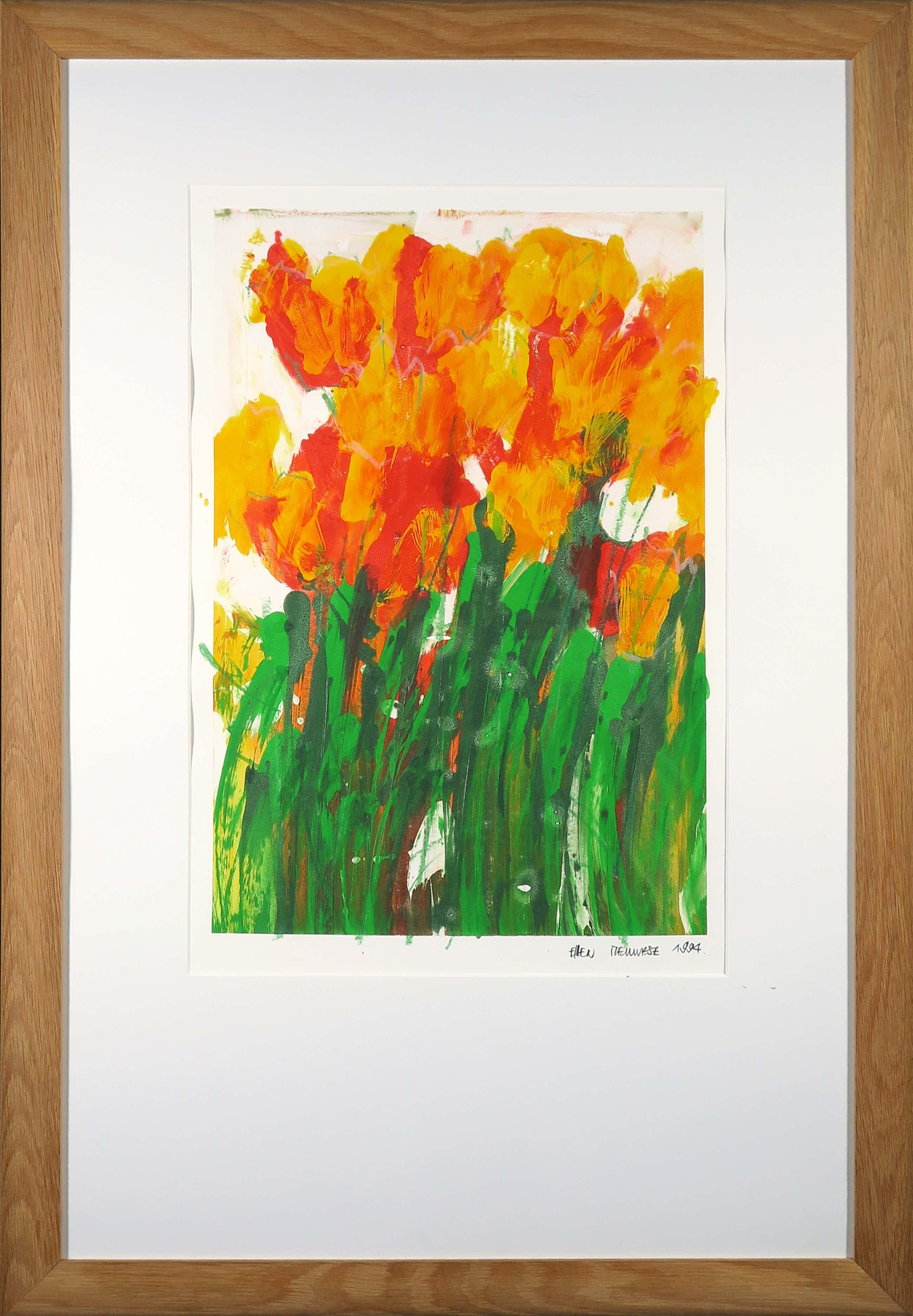 Ellen Meuwese - Monotype, Tulpen - Ingelijst kopen? Bied vanaf 20!