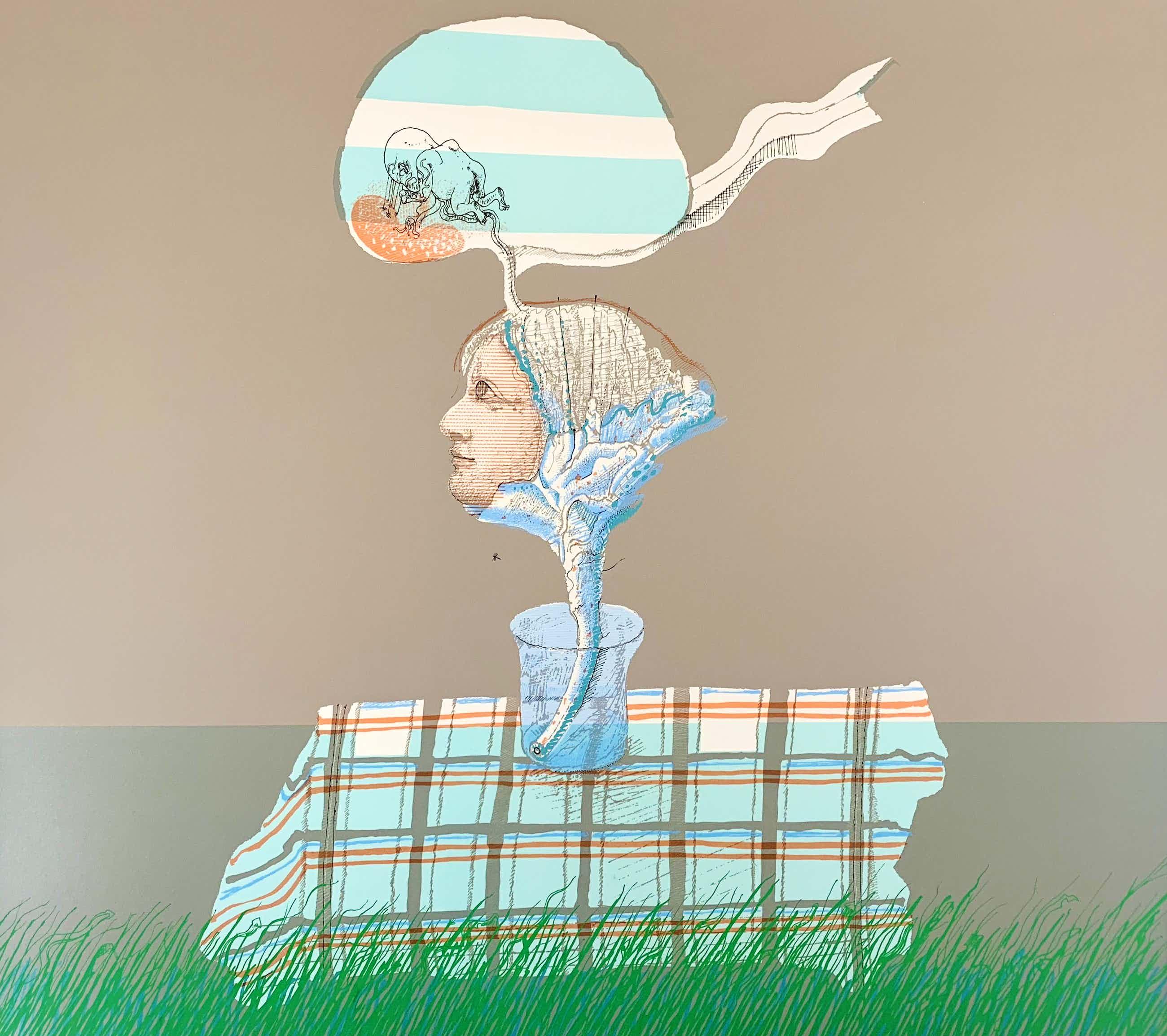 Co Westerik - handgesigneerde kleurenzeefdruk, 'Plantvrouw in glas op tafel buiten' kopen? Bied vanaf 295!