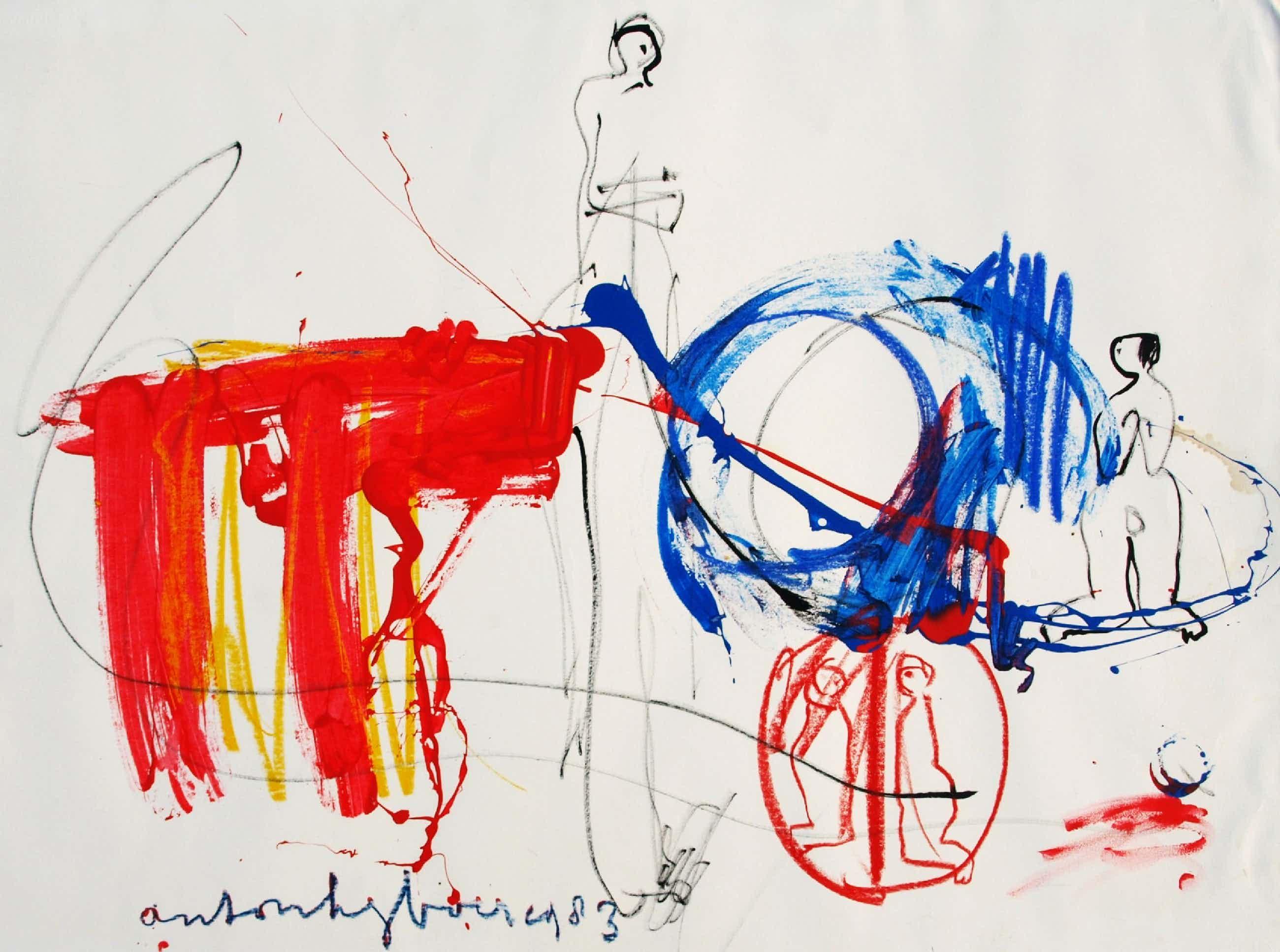 """Anton Heyboer - Gemengde techniek, Groot, 78 x 107 cm , """"Zonder titel"""" – 1983 kopen? Bied vanaf 150!"""