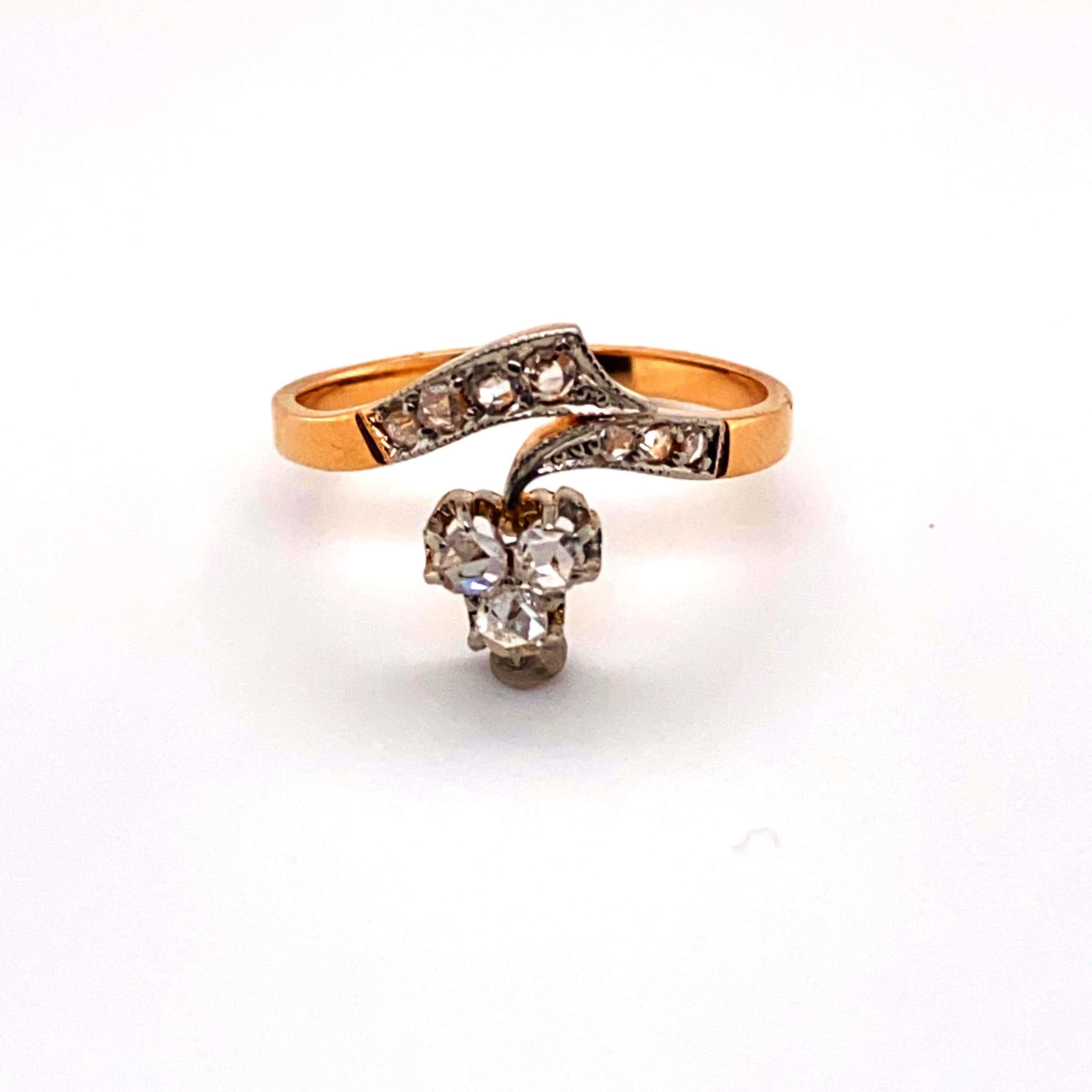 18kt bicolor ring met diamant, maat 55/17,25, 3,01gr kopen? Bied vanaf 370!