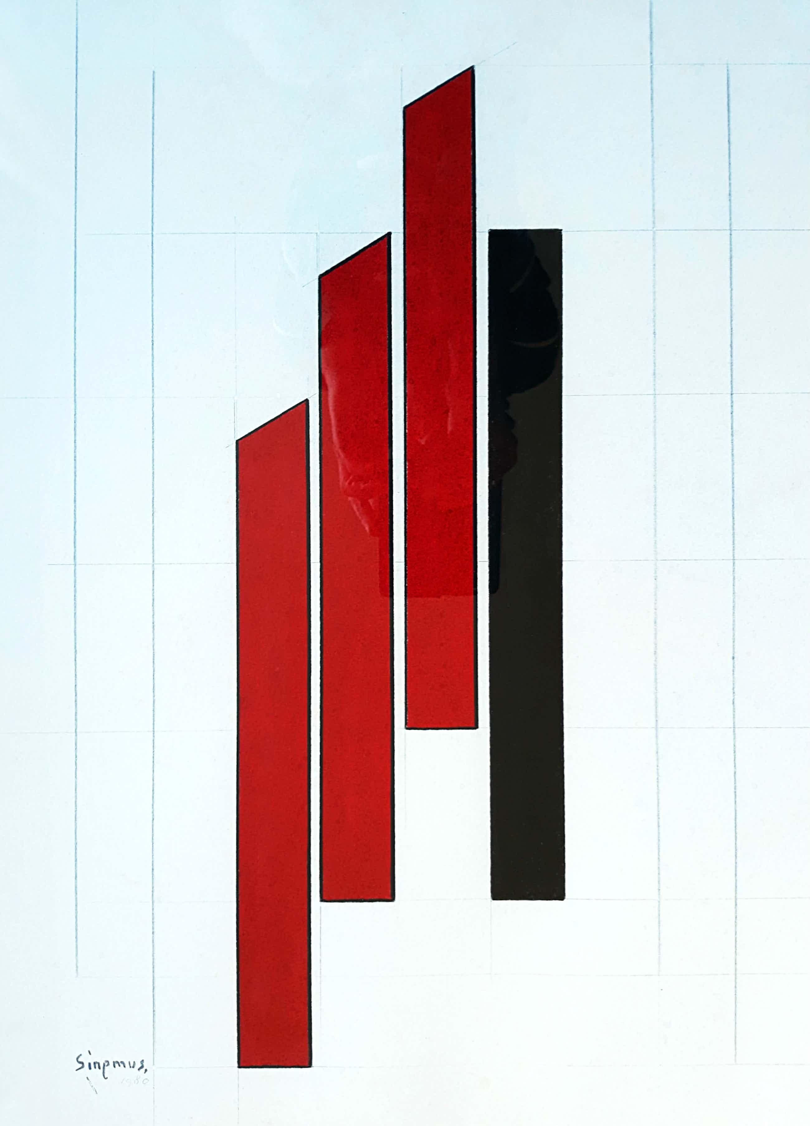 Wim Sinemus - Geometrisch abstracte compositie, gouache (ingelijst) kopen? Bied vanaf 420!