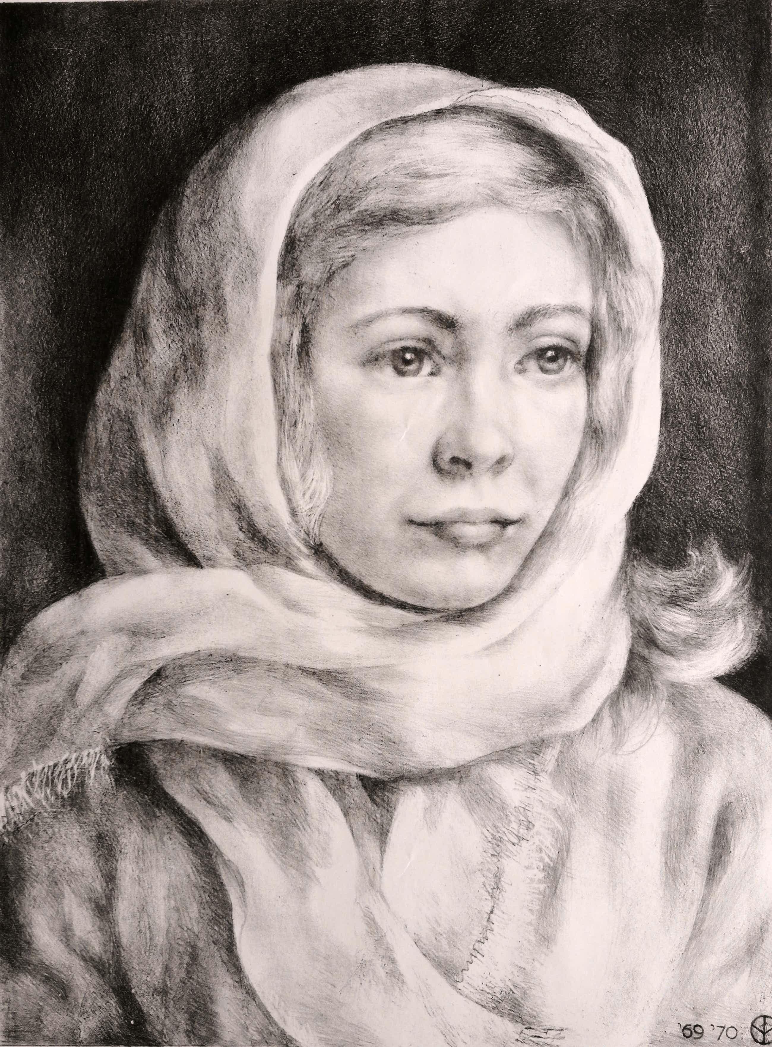 Aart van Dobbenburgh - Portret vrouw met sjaal kopen? Bied vanaf 35!