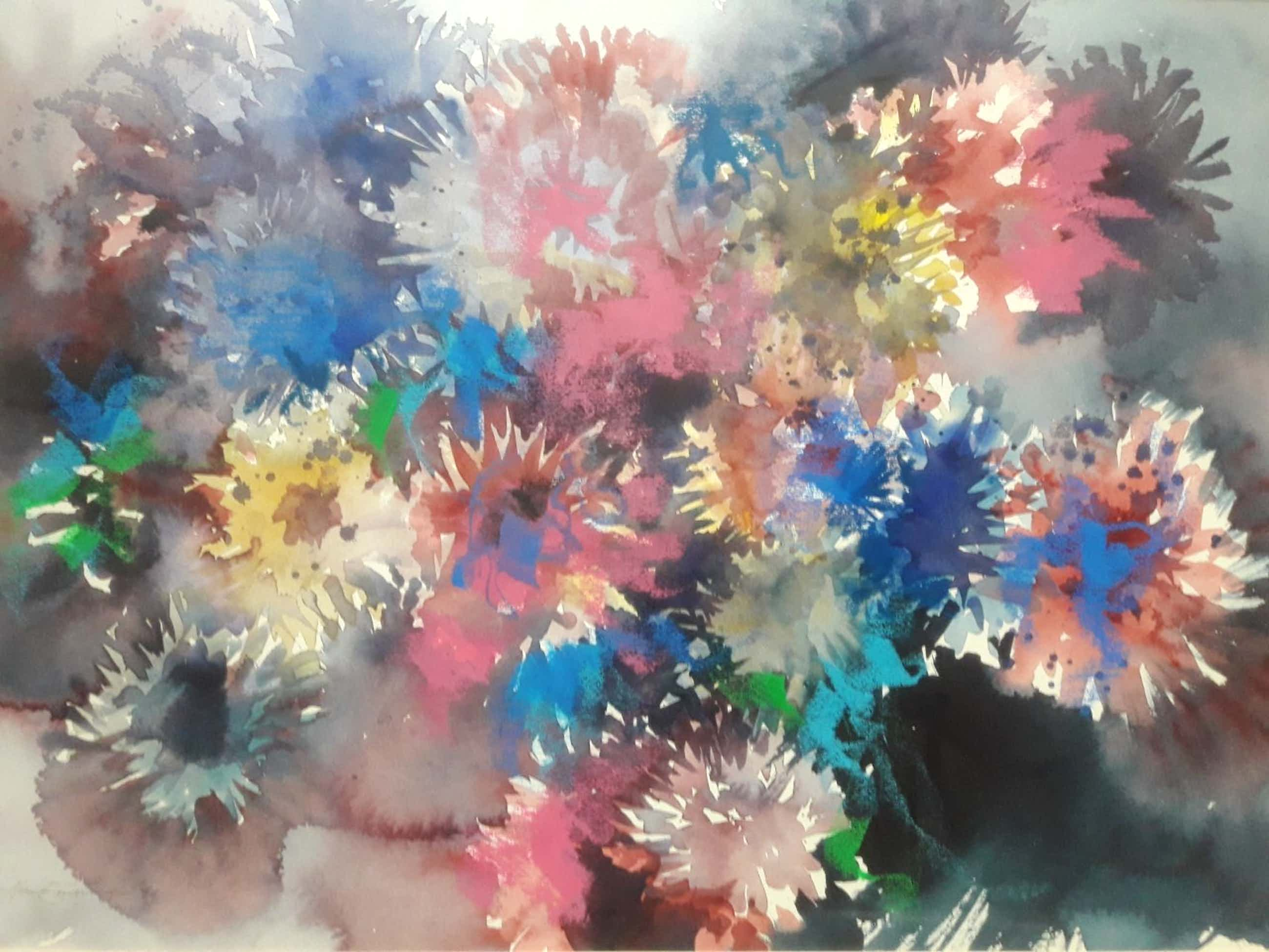 Hen Euverman - Kleurrijk bloemstilleven. (groot) kopen? Bied vanaf 95!