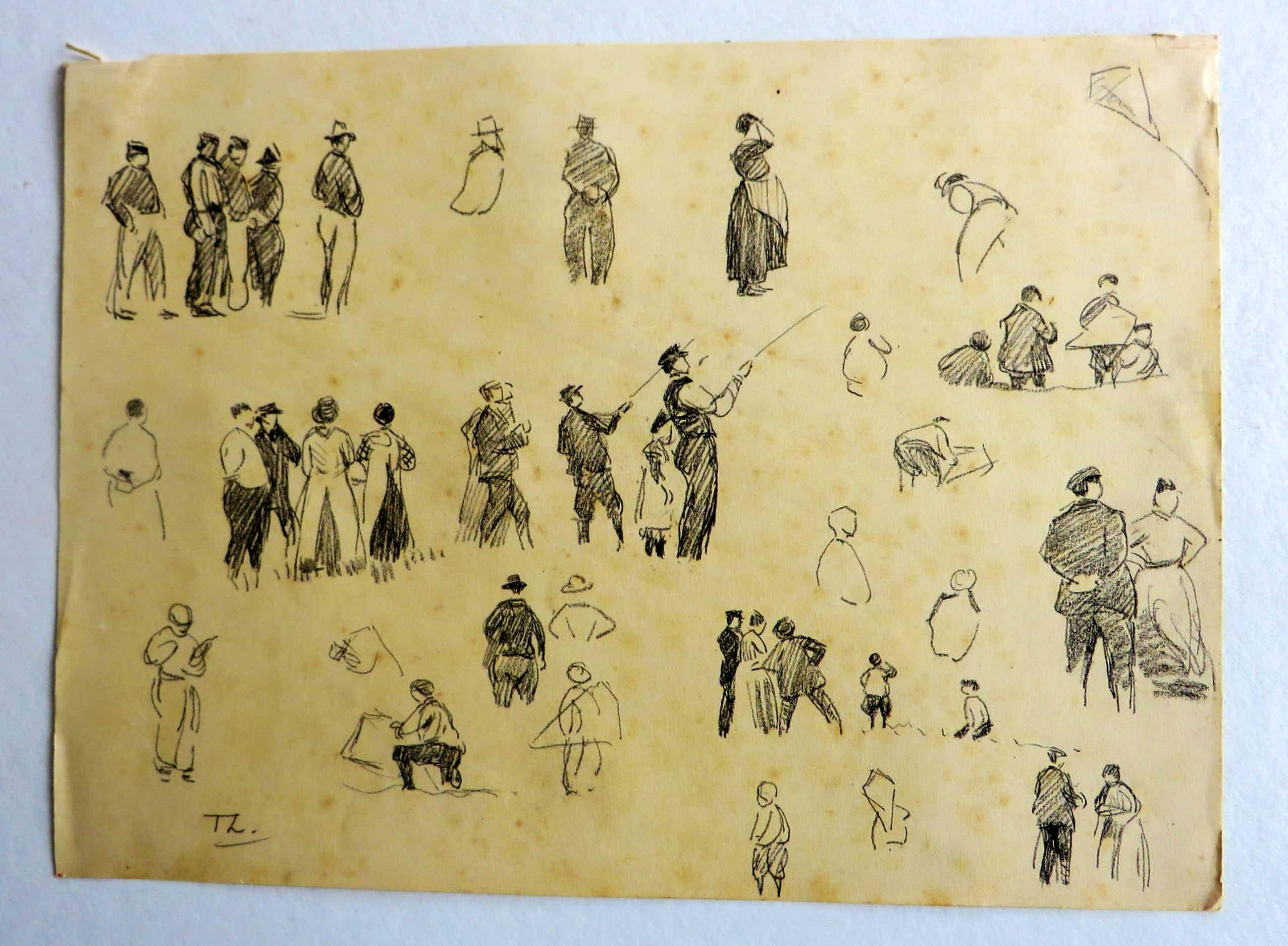 Willem Bastiaan Tholen - Twee tekeningen uit de schetsboeken van W.B.Tholen kopen? Bied vanaf 150!