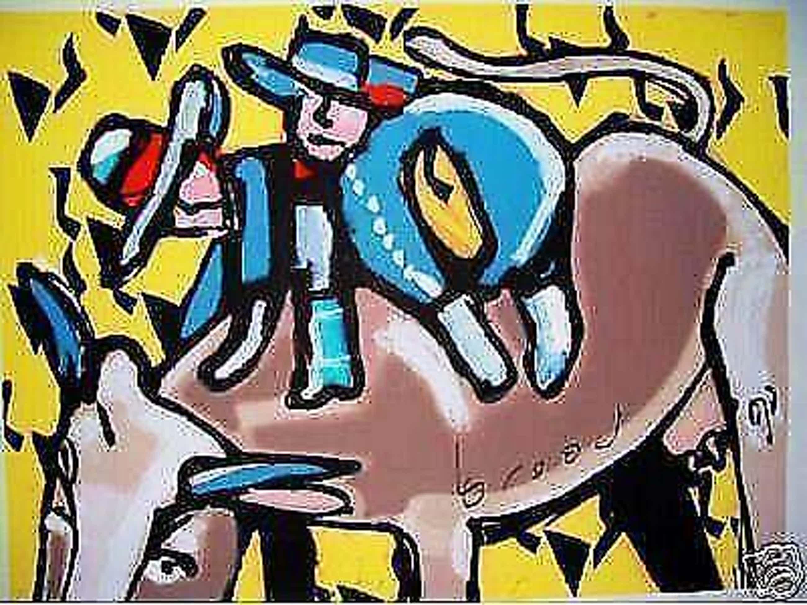 Herman Brood - Kleurenzeefdruk BULLS RIDE Handgesigneerd---GROOT!!! kopen? Bied vanaf 475!