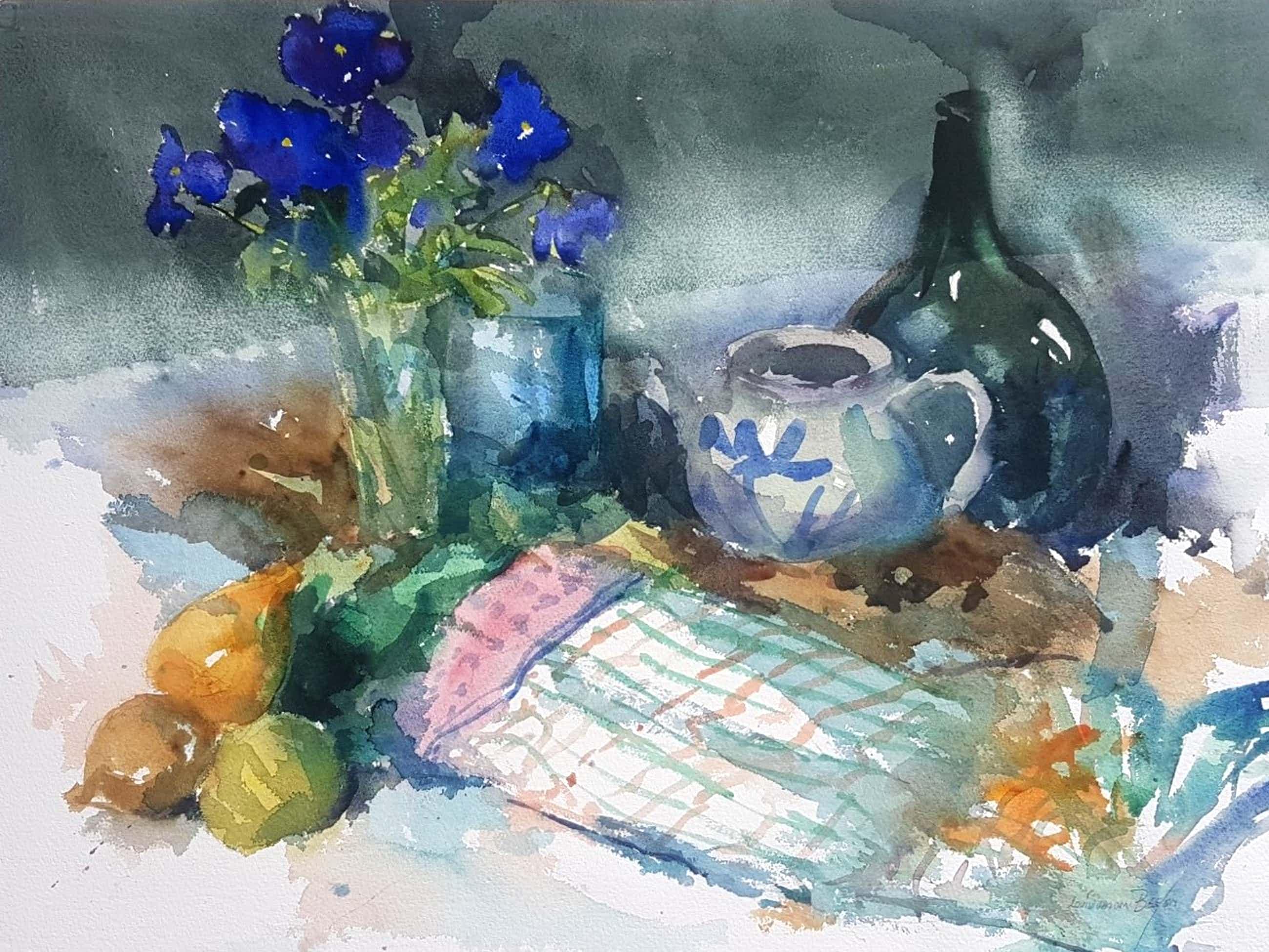 Louis van der Beesen - Stilleven met stenen kruik en blauwe violen kopen? Bied vanaf 75!