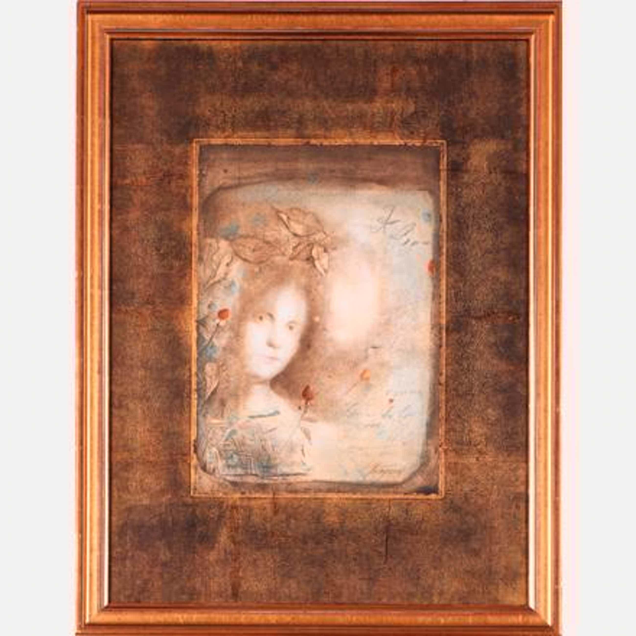 Mersad Berber - Porträt einer jungen Frau mit geschlossenen Rosen, umgeben von Textframenten kopen? Bied vanaf 190!