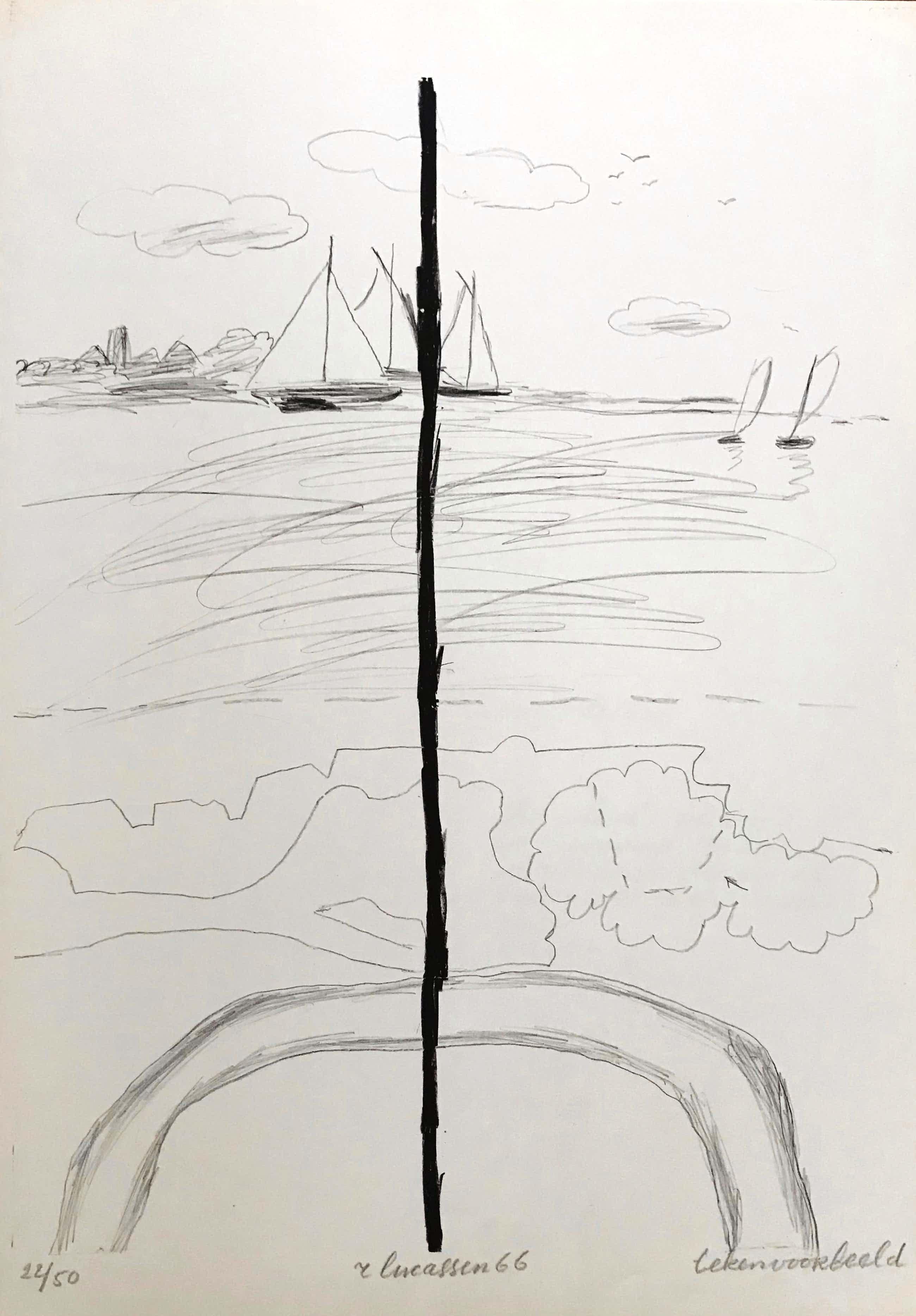 """Reinier Lucassen - Lithografie - Gesigneerd - """"Tekenvoorbeeld"""" - 1966 - 22/50 kopen? Bied vanaf 45!"""