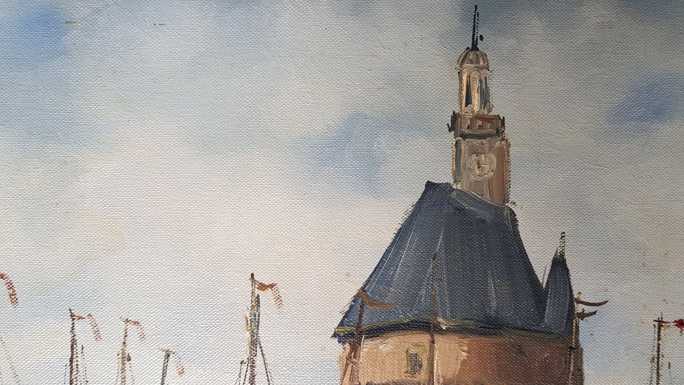 Jan Kelderman - De hoofdtoren van Hoorn, olie op doek - gesigneerd kopen? Bied vanaf 1!