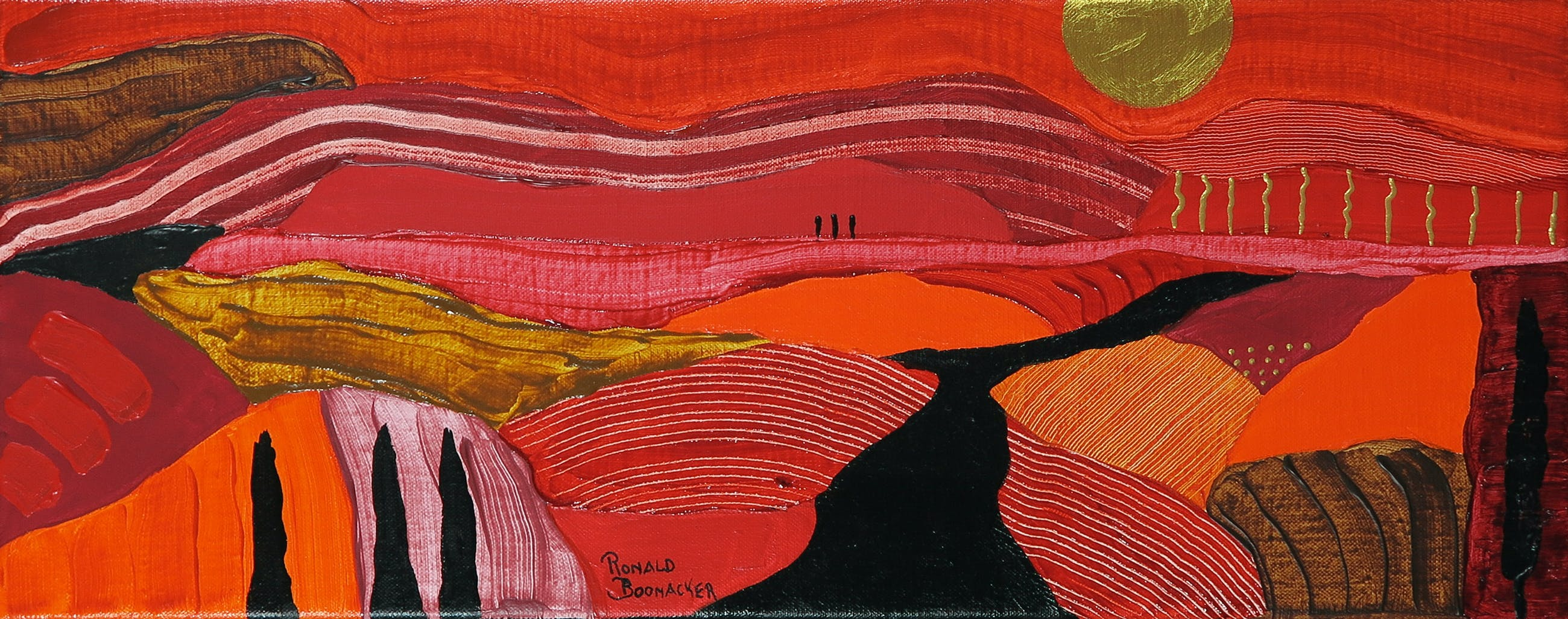 Ronald Boonacker - Acryl op doek, Italiaans landschap kopen? Bied vanaf 100!