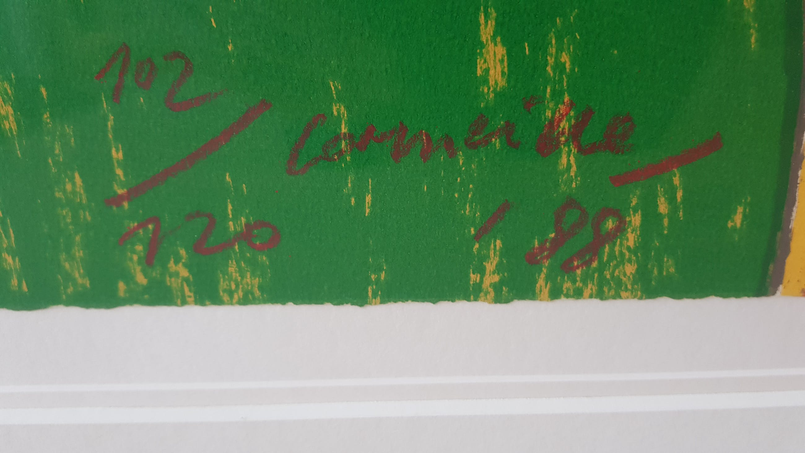 Corneille - carborundum 102/120 (zeer groot en ingelijst), 1988 kopen? Bied vanaf 499!