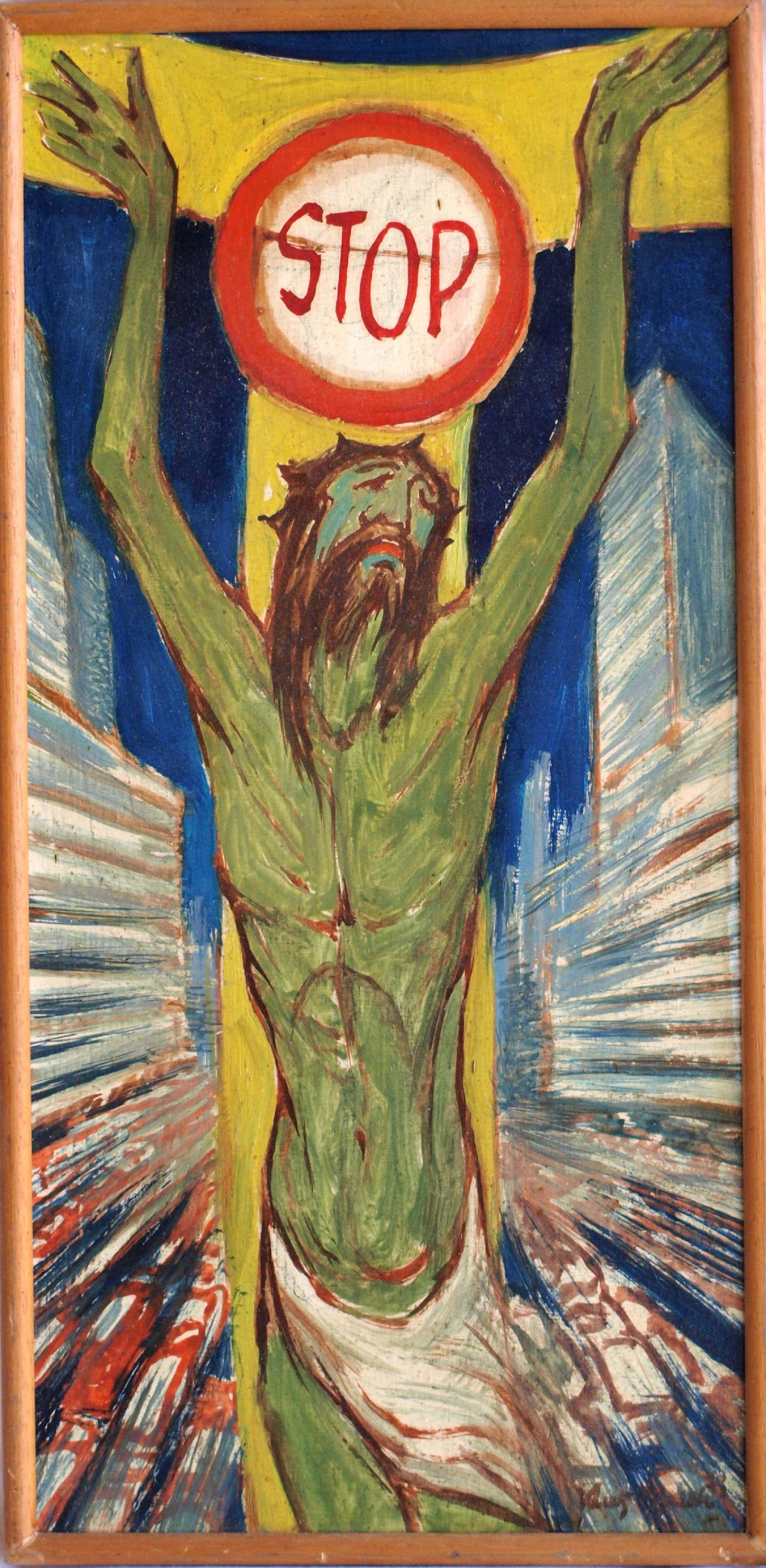 """Klaas Pijlman - Olieverf op paneel , Jezus: """"STOP"""" – gesigneerd – ca 1970 kopen? Bied vanaf 50!"""