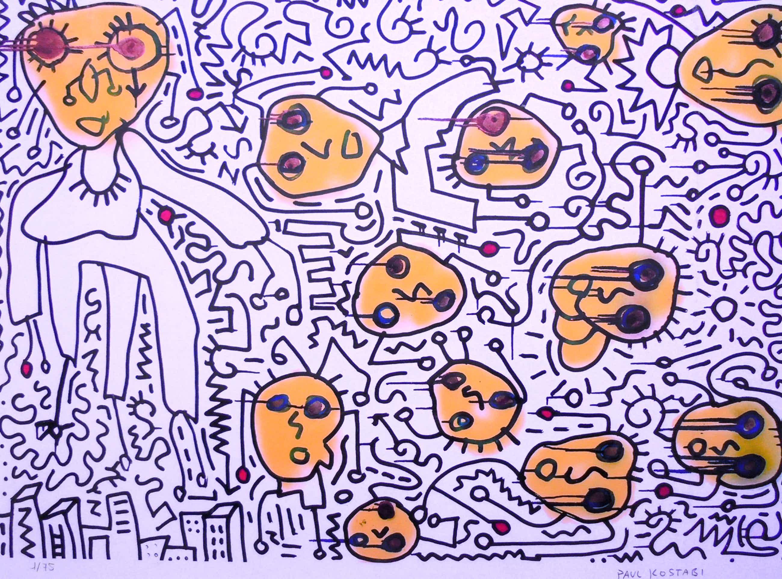"Paul Indrek Kostabi - ""Counting backwards "" 2013 - Giclèe handgesigneerd - Oplage 75 kopen? Bied vanaf 125!"