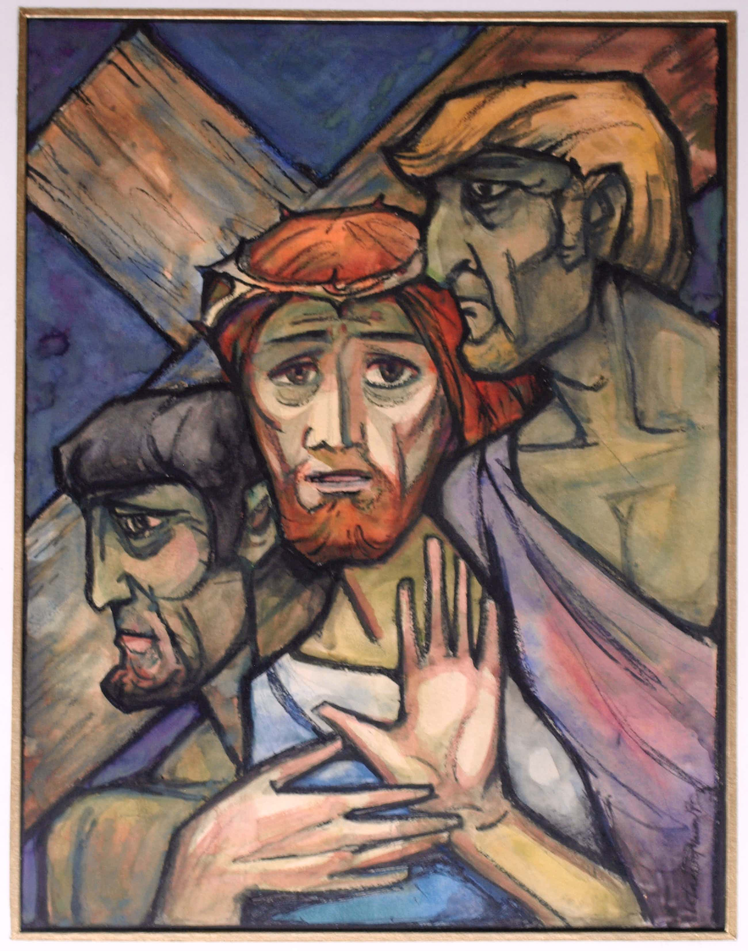 """Klaas Pijlman - Tempera , """"Jezus en moordenaars"""" – ingelijst - 1970 kopen? Bied vanaf 60!"""