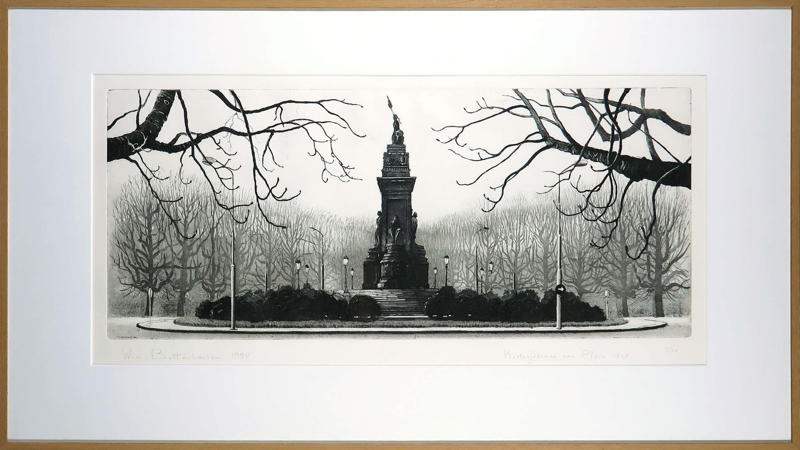 Wim Bettenhausen - Ets, Kastanjebomen aan Plein 1813 - Ingelijst kopen? Bied vanaf 100!