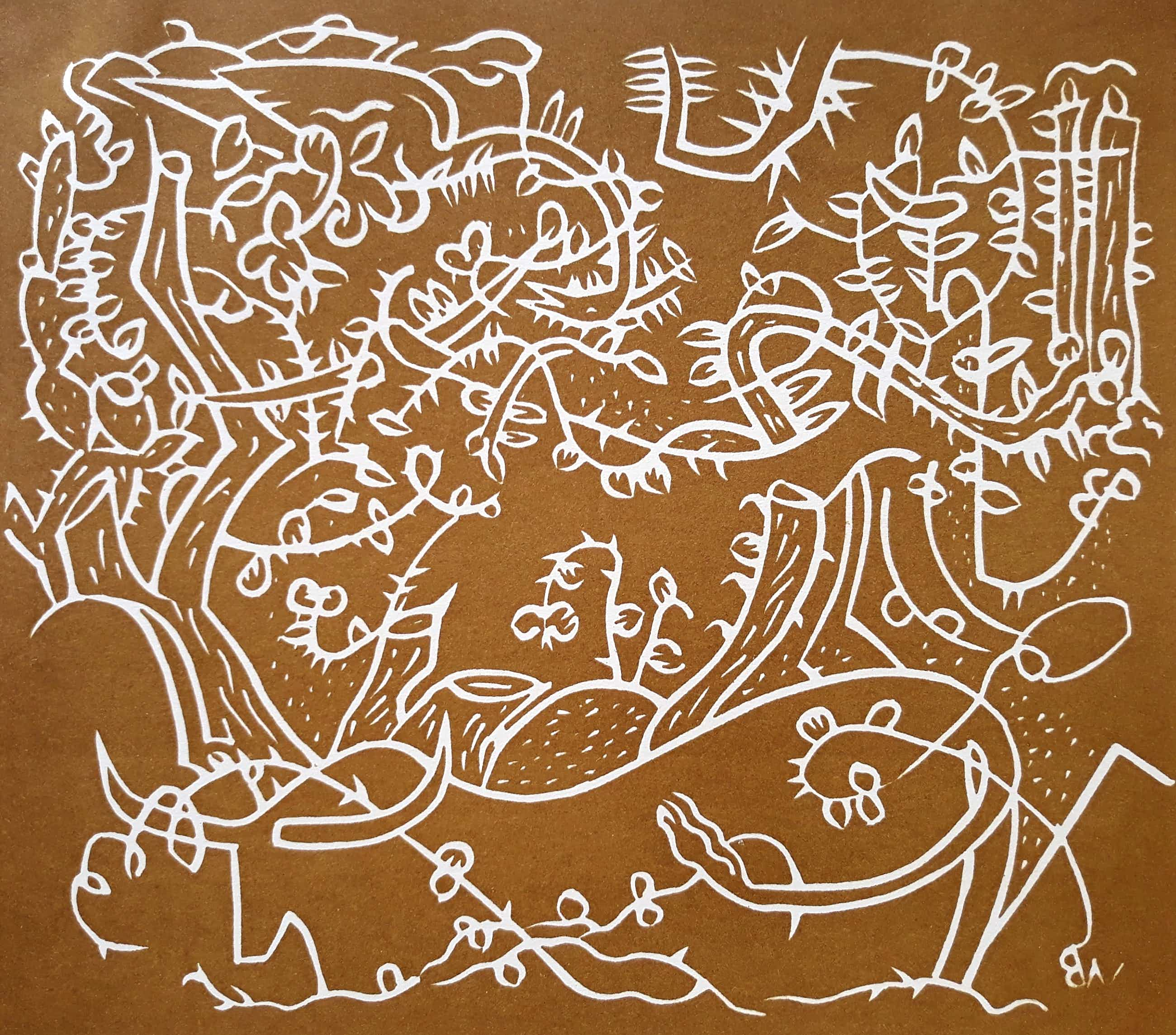 Walter Whall Battiss - Cattle metamorphosed into plants, linosnede kopen? Bied vanaf 95!