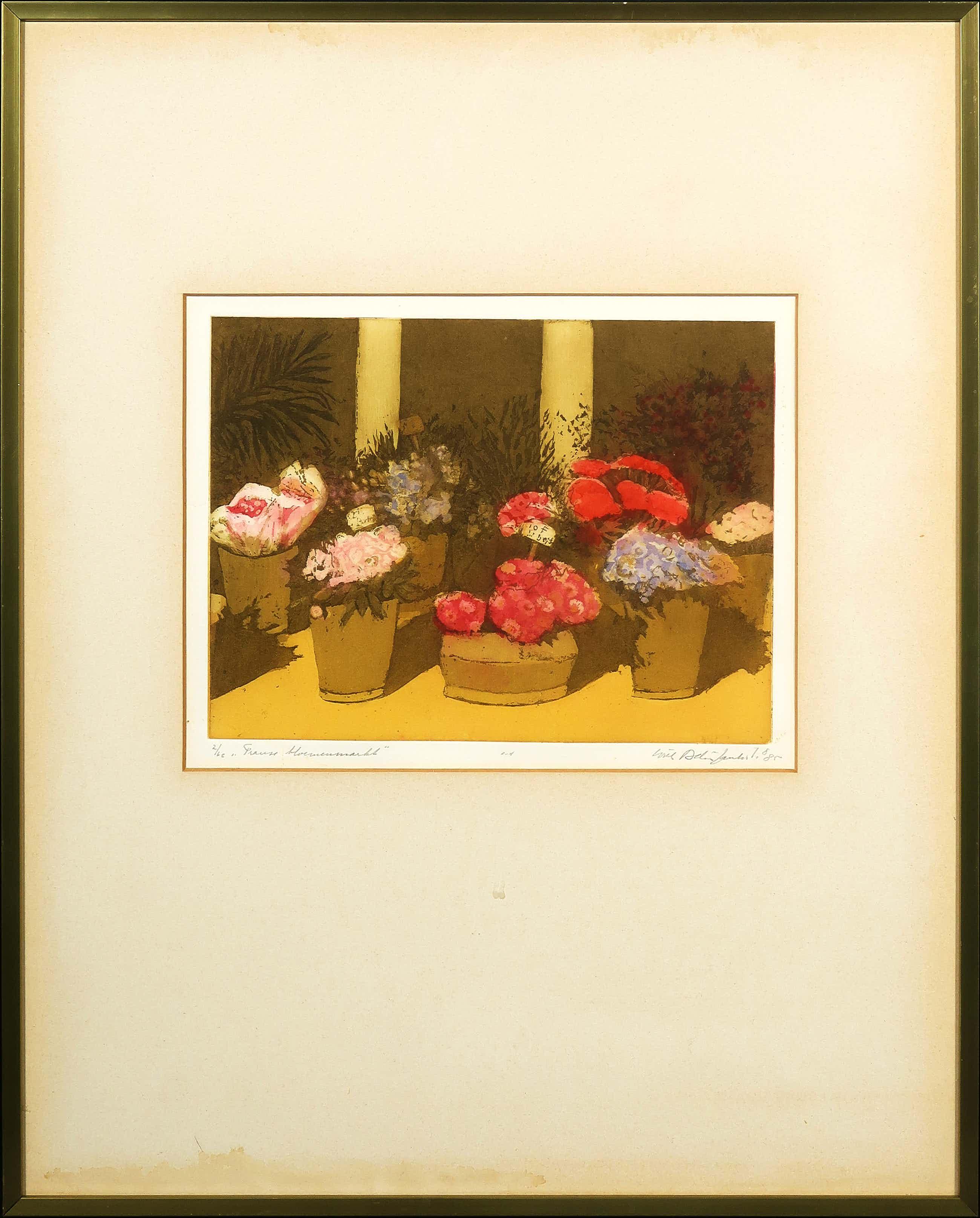 Willy Belinfante - Aquatint, Franse bloemenmarkt - Ingelijst kopen? Bied vanaf 35!