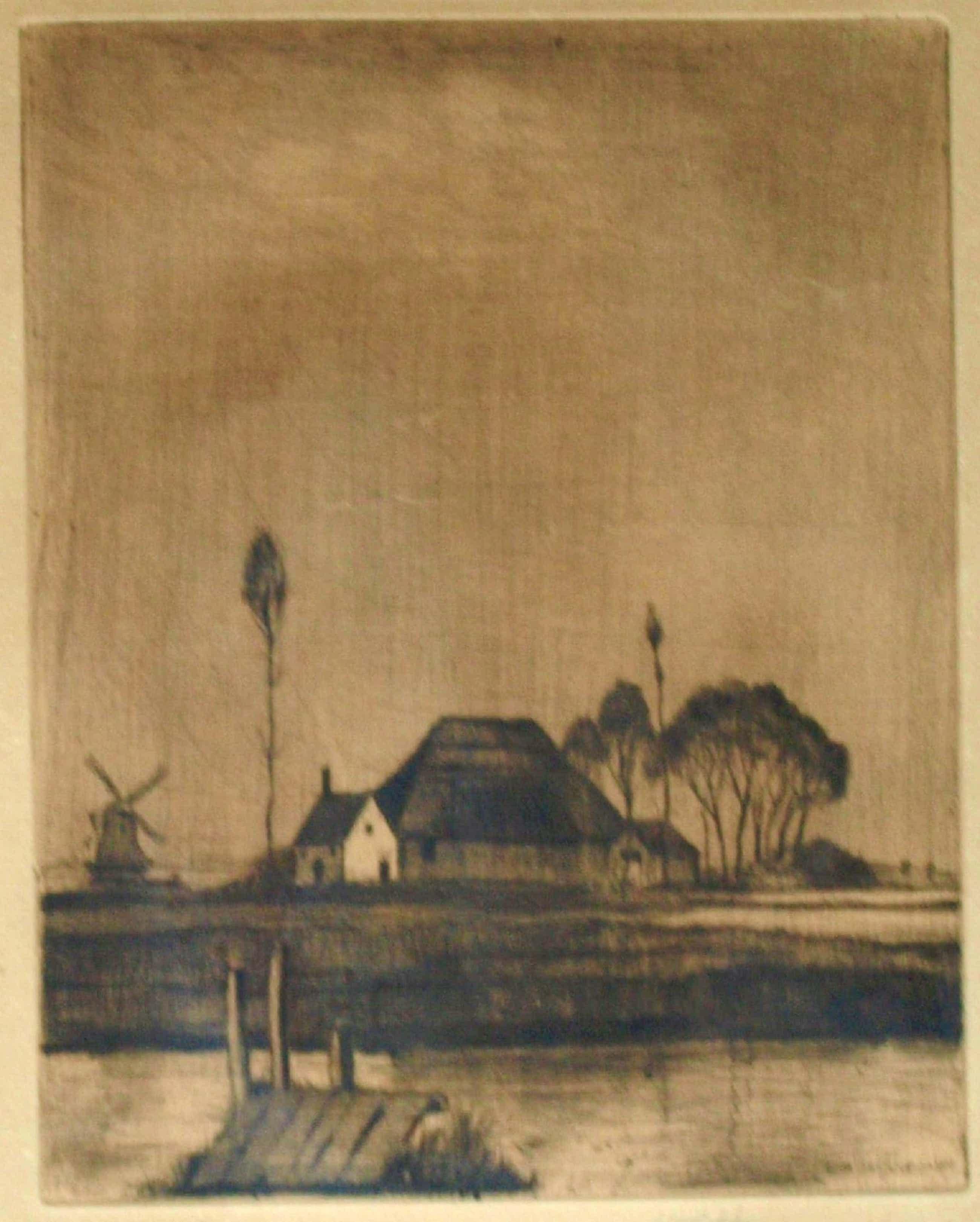 Hubert Hannemann - Ingelijste ets , 'Bei Haarlem' (aan het Spaarne?) – ca. 1940 kopen? Bied vanaf 35!