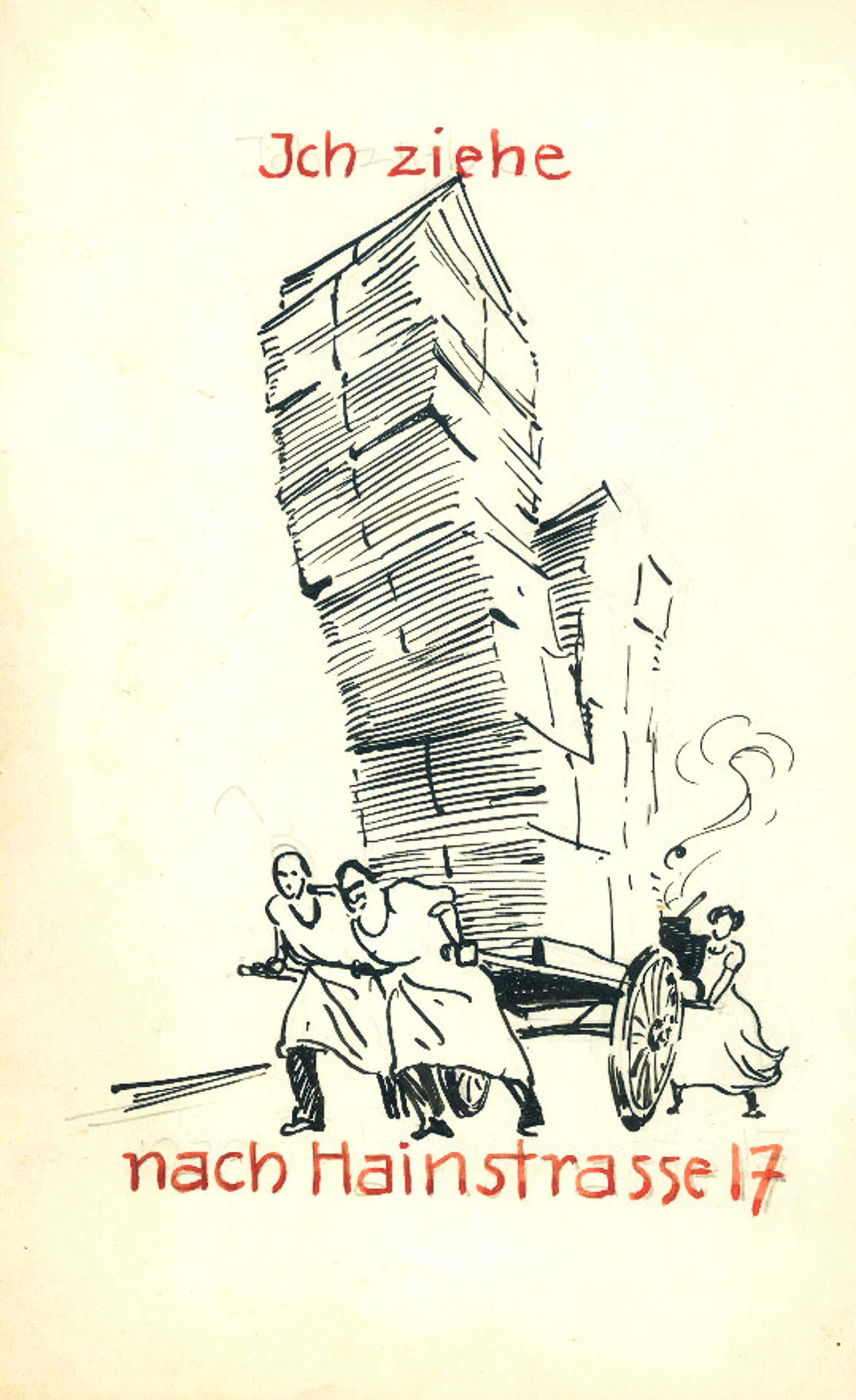 Kurt Opitz - Originelle Zeichnung zu eigenem Umzug kopen? Bied vanaf 60!