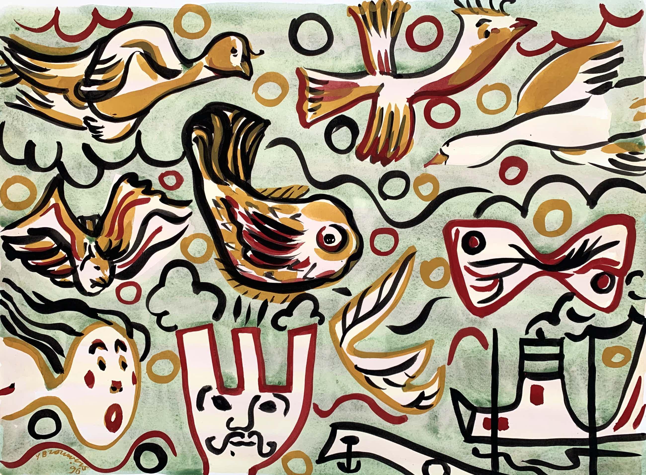 Yolande Brouwers - Gemengde techniek op papier | 'Vissenwereld' | 1996 kopen? Bied vanaf 80!