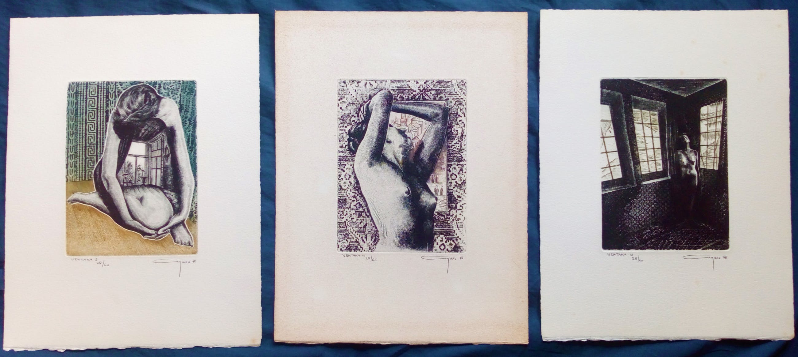 Alfonso Ayuso - 3 etsen - Ventana I,III,IV - Gesigneerd en genummerd - 1978 kopen? Bied vanaf 10!
