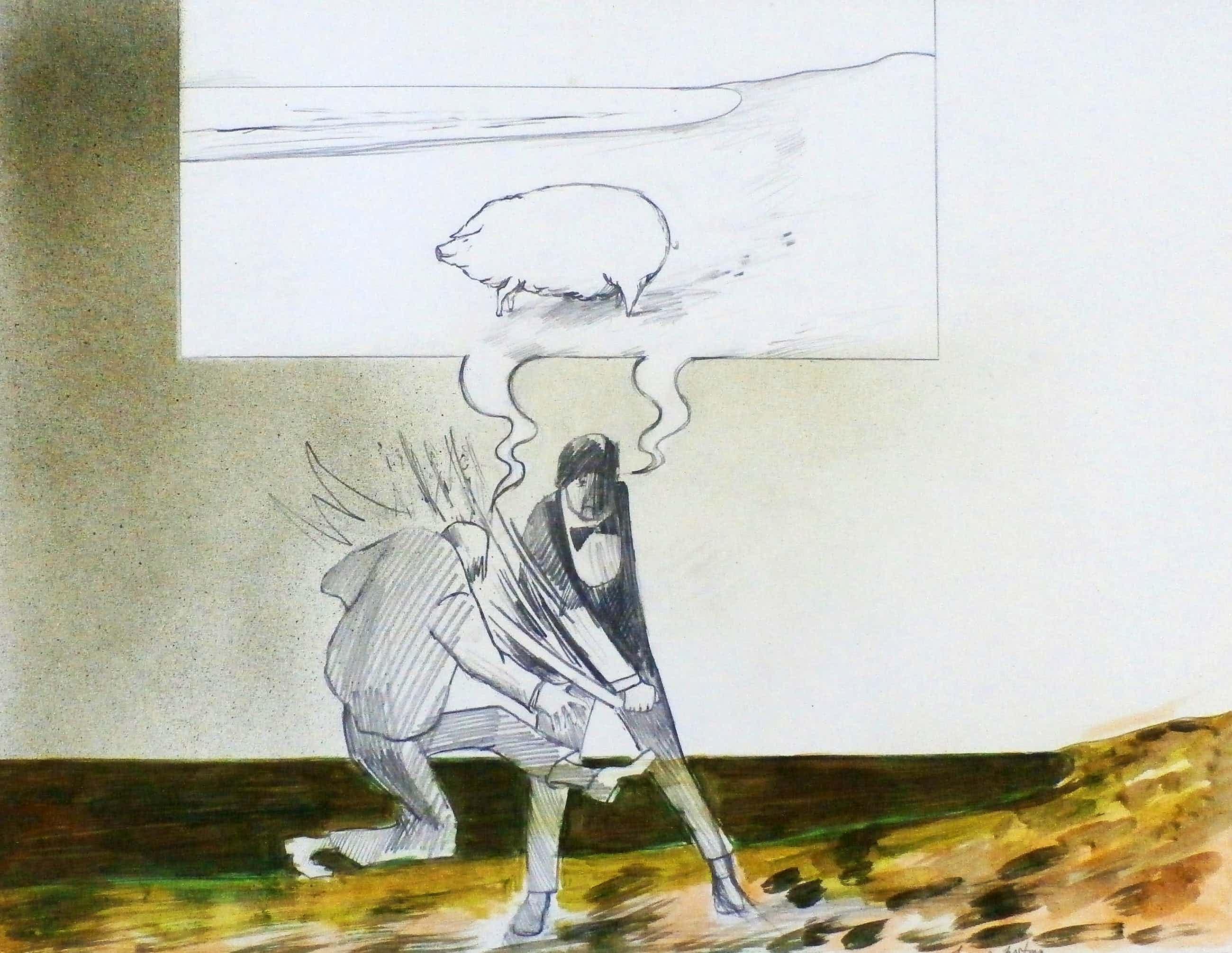 Hannes Postma - Gemengde techniek(potlood/aquarel) - 1974 kopen? Bied vanaf 199!