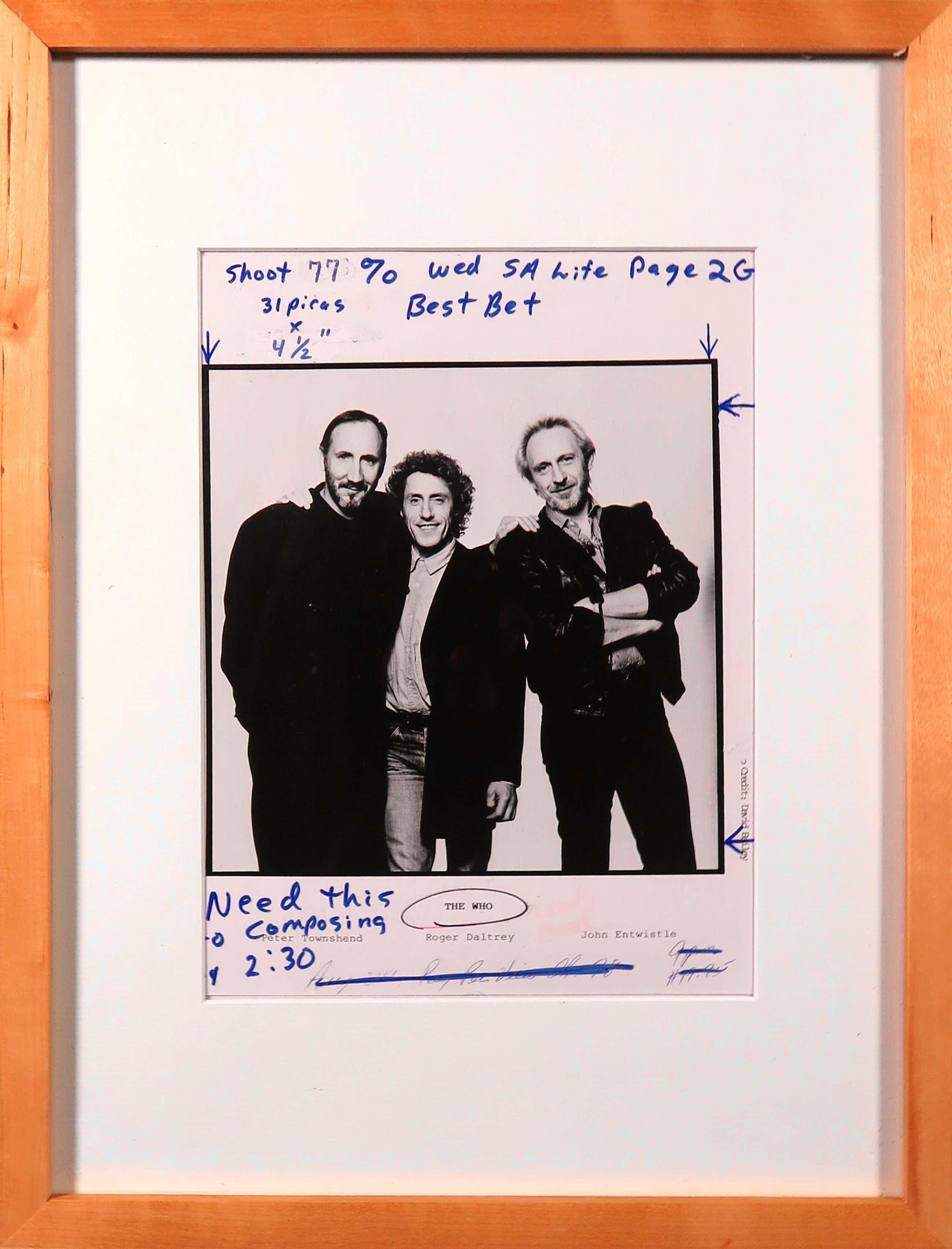 David Bailey - Foto, The Who met aantekening van redactie van een Magazine kopen? Bied vanaf 25!
