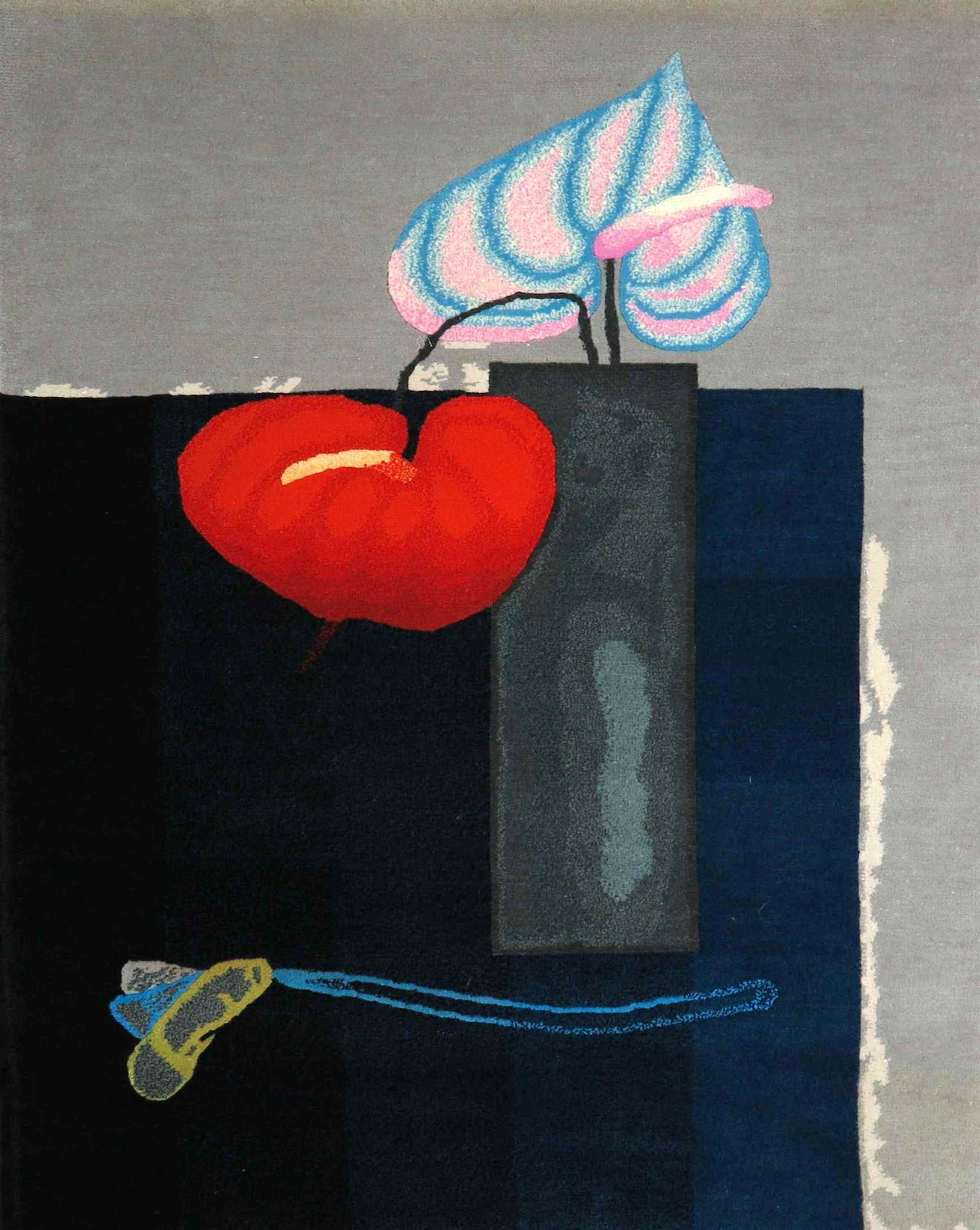 Paul Wunderlich - Handgeknoopt tapijt (wol), Vase mit zwei Anturien + certificaat kopen? Bied vanaf 480!