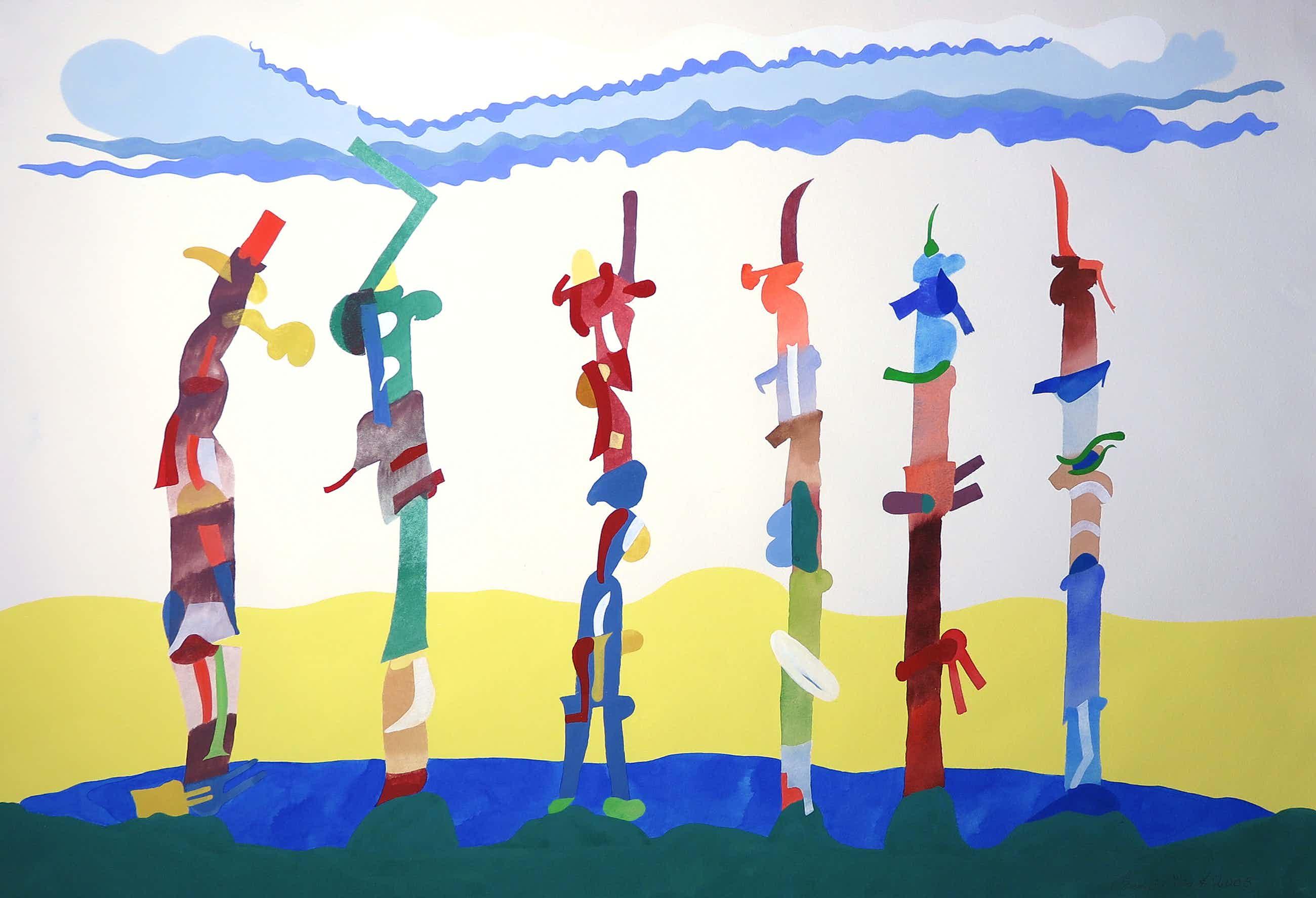 Henri Plaat - Gouache op papier, Abstract (Groot) kopen? Bied vanaf 60!