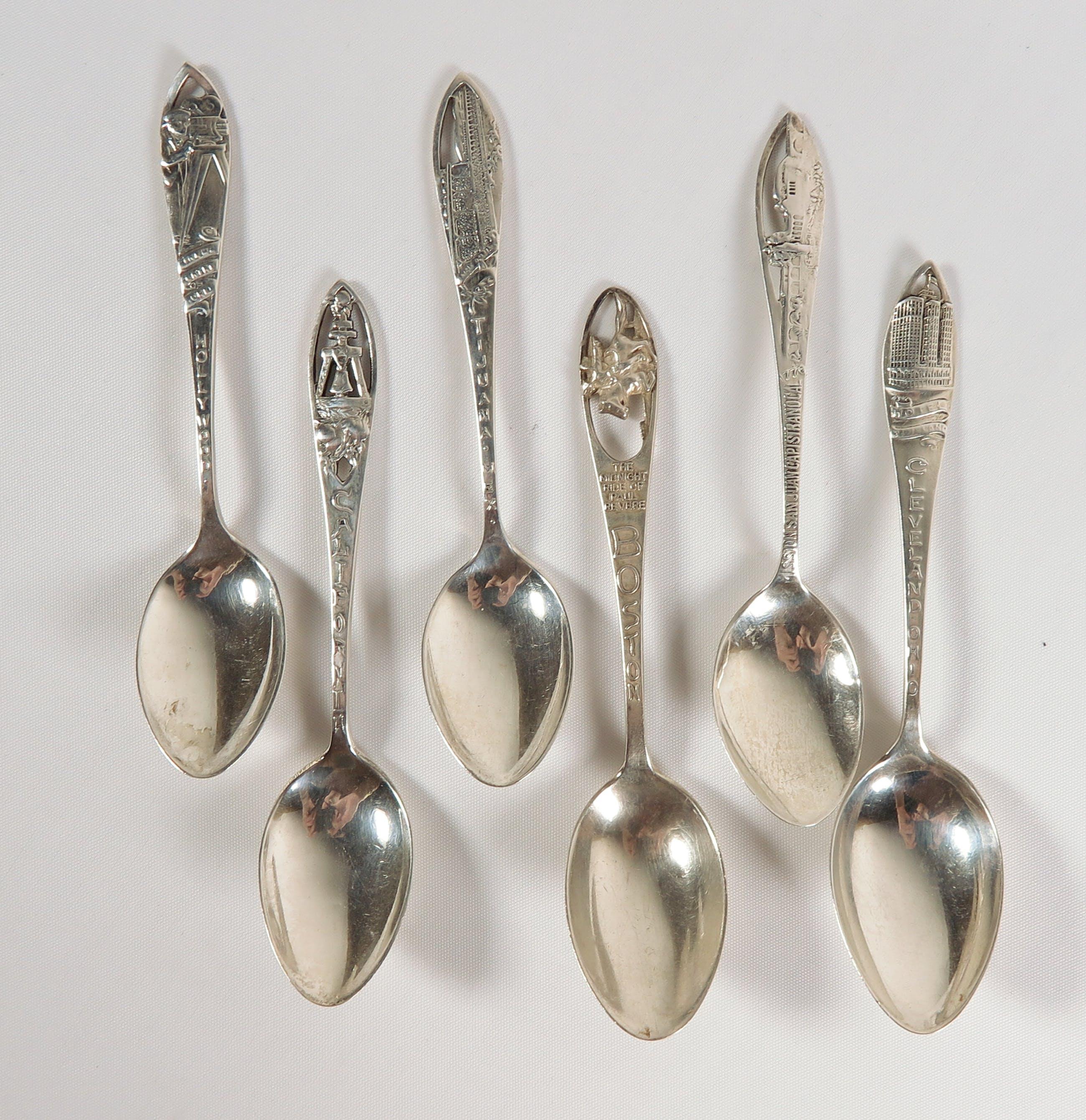 Lot van zes Sterling zilveren souvenir theelepels kopen? Bied vanaf 40!
