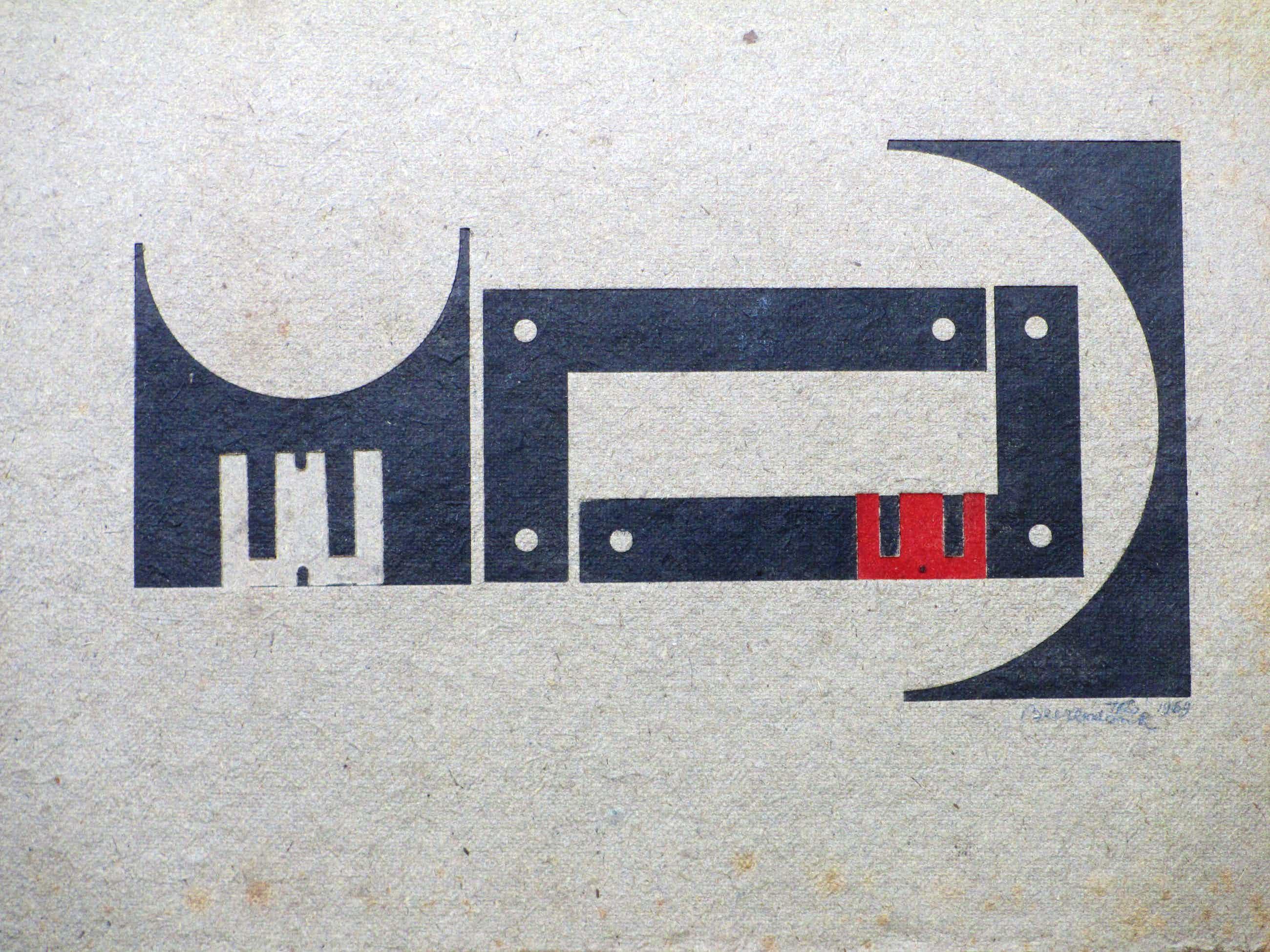 Theo Beerendonk - Abstracte compositie in zwart/rood - Ets in diepdruk kopen? Bied vanaf 50!