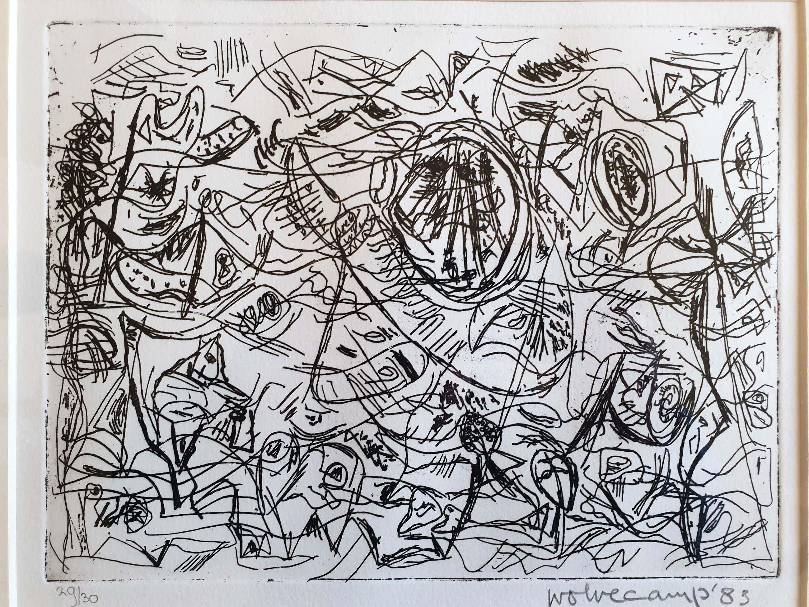 Theo Wolvecamp - Kleine oplage, handgesigneerde ingelijste ets, abstracte compositie kopen? Bied vanaf 225!