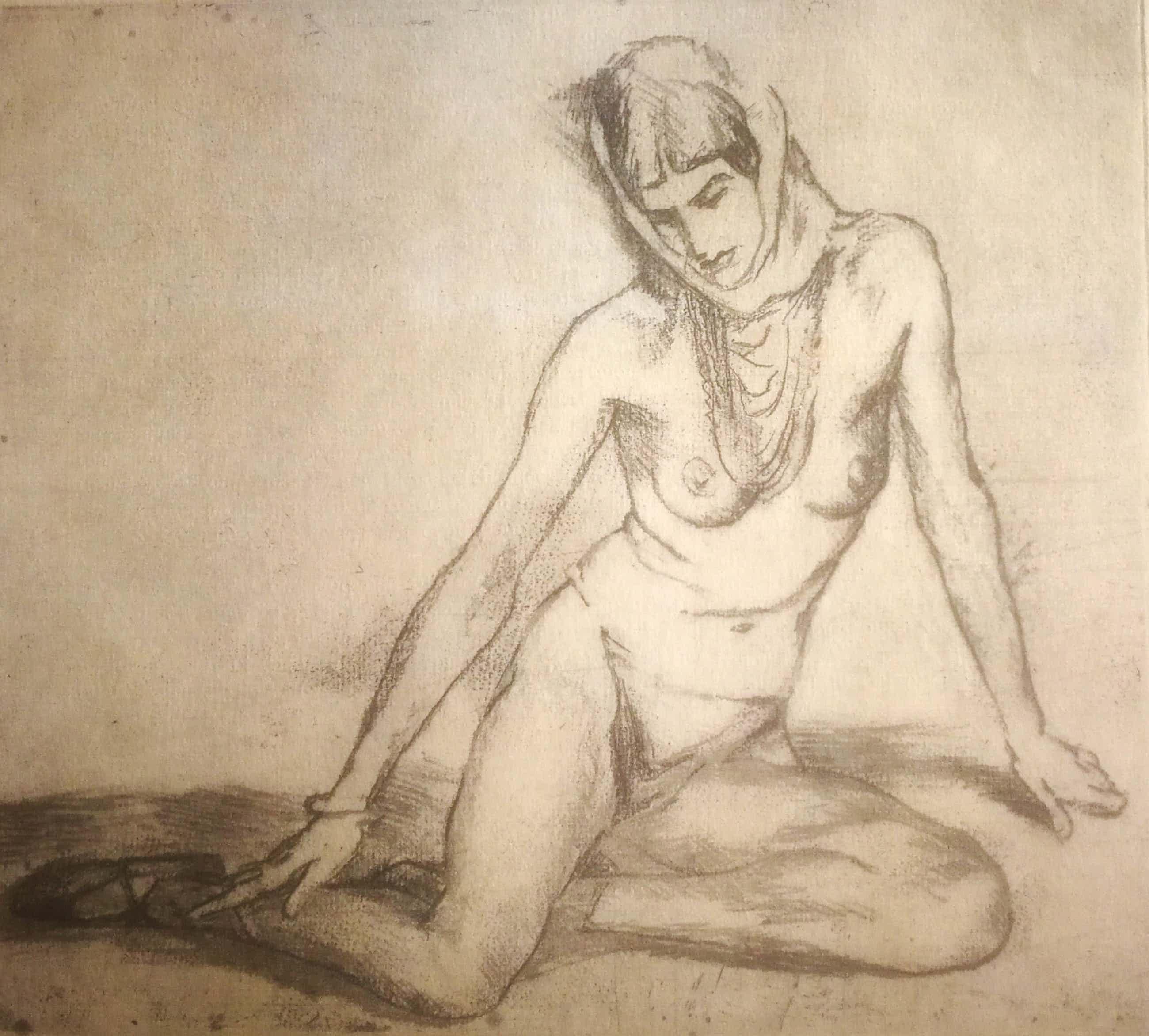 Albert Neuhuys - Naakt. Zittende vrouw. Danseres. kopen? Bied vanaf 225!