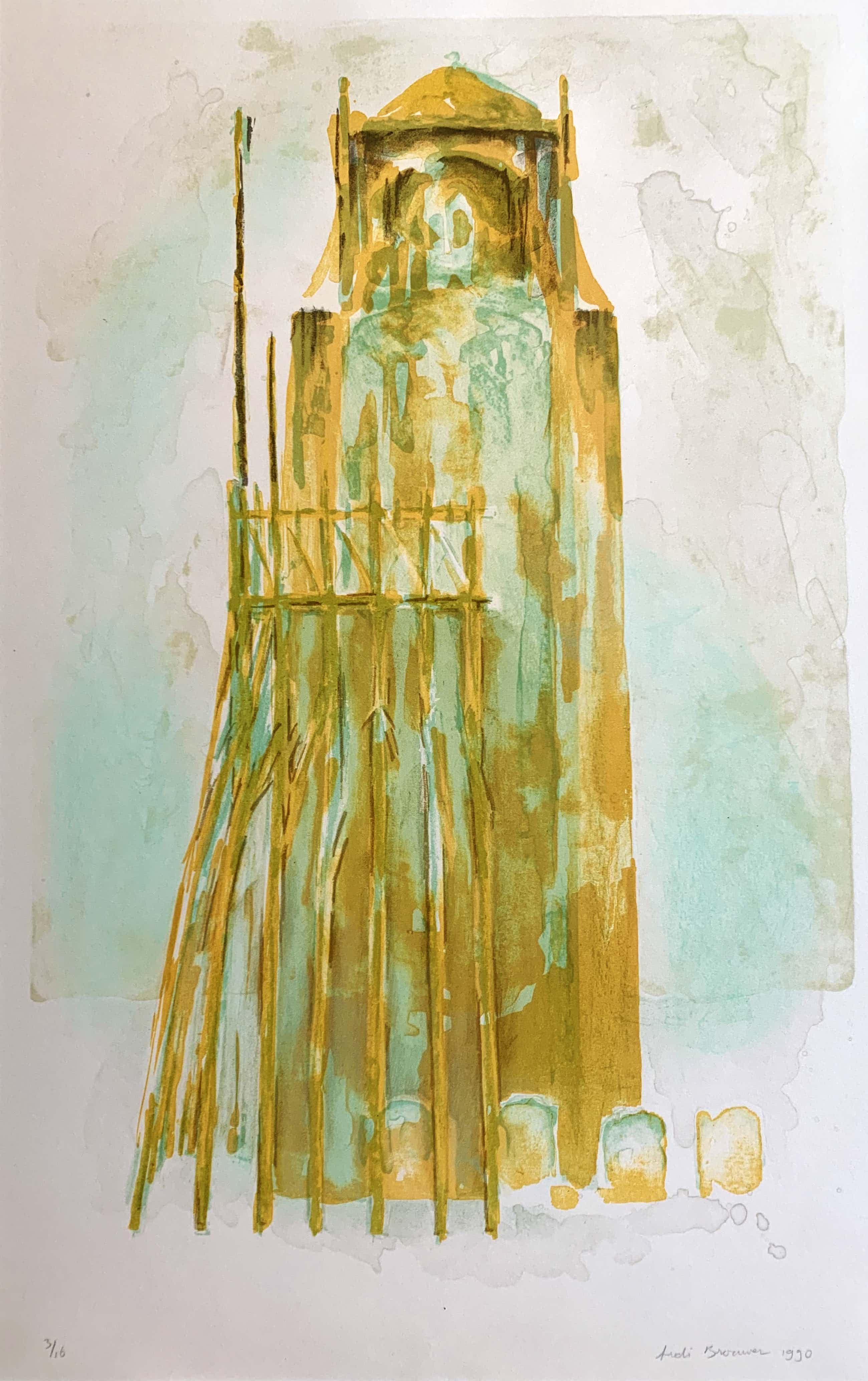Ardi Brouwer - kleurenlitho - 'Toren III' - 1990 (Kleine oplage) kopen? Bied vanaf 70!