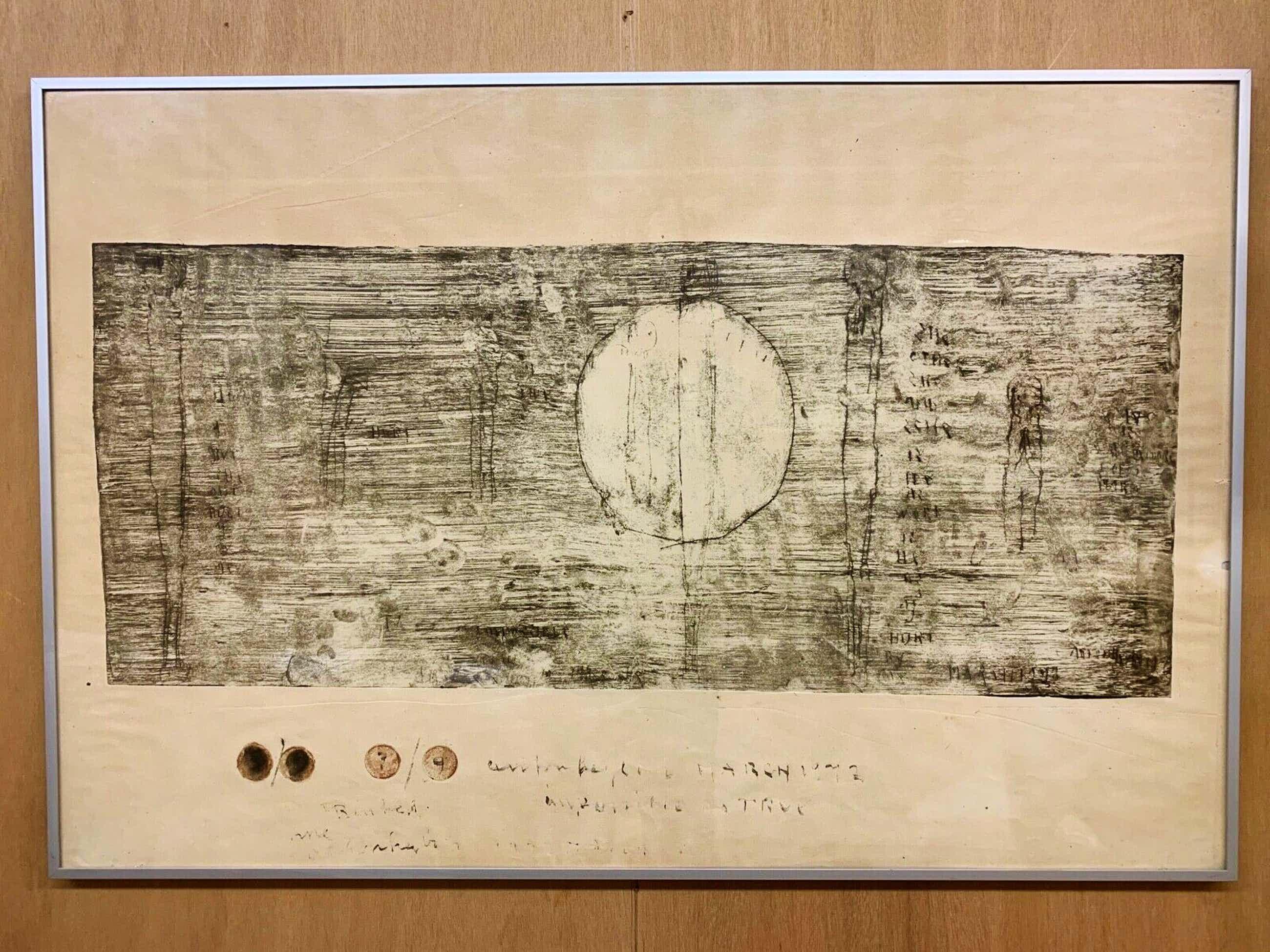 """Anton Heyboer - 1977 - zeldzame Grote ets van Anton Heyboer - """"Hurt"""" - GESIGNEERD. kopen? Bied vanaf 675!"""