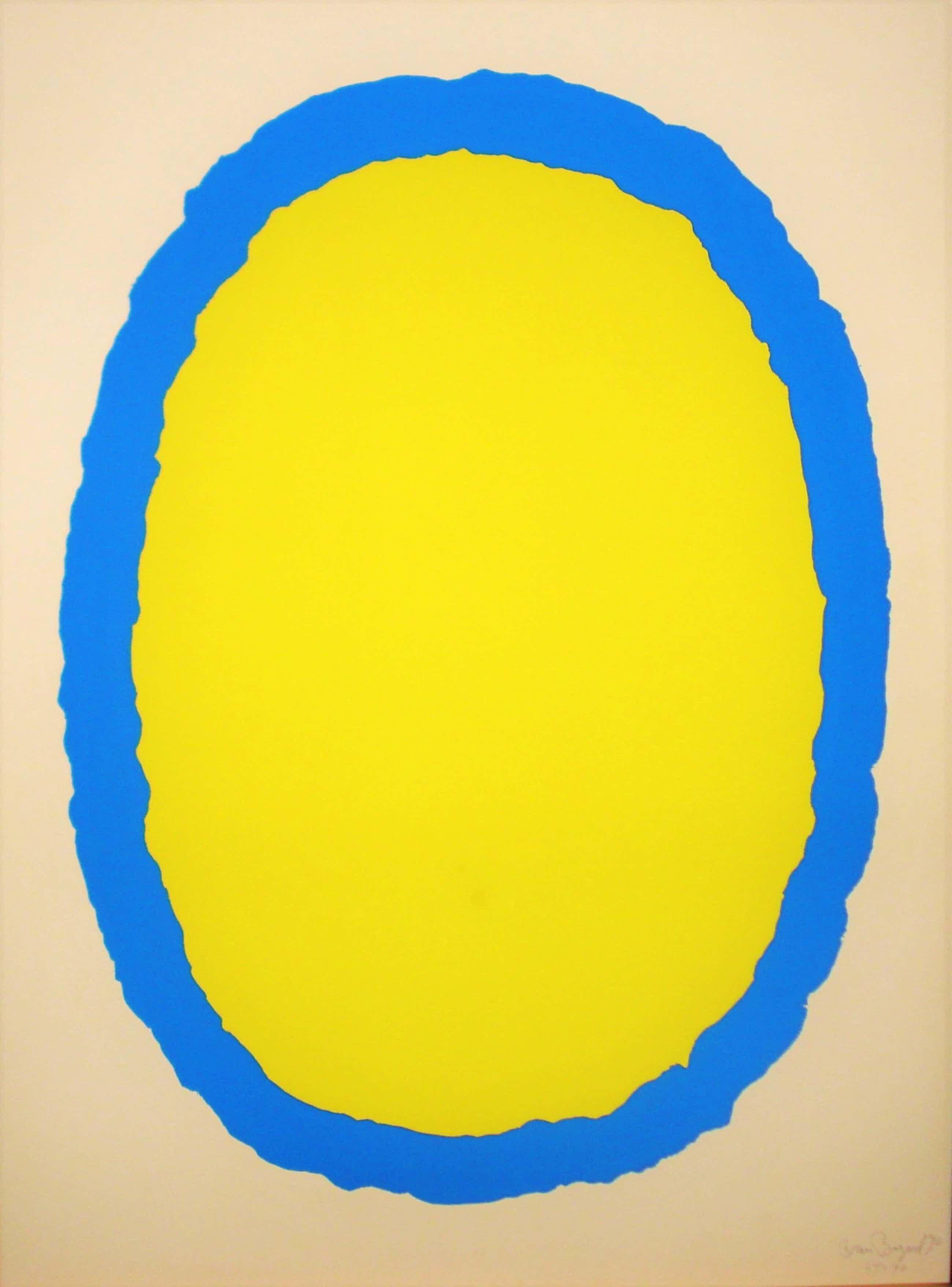 Bram Bogart - Litho in kleur geel/blauw kopen? Bied vanaf 320!