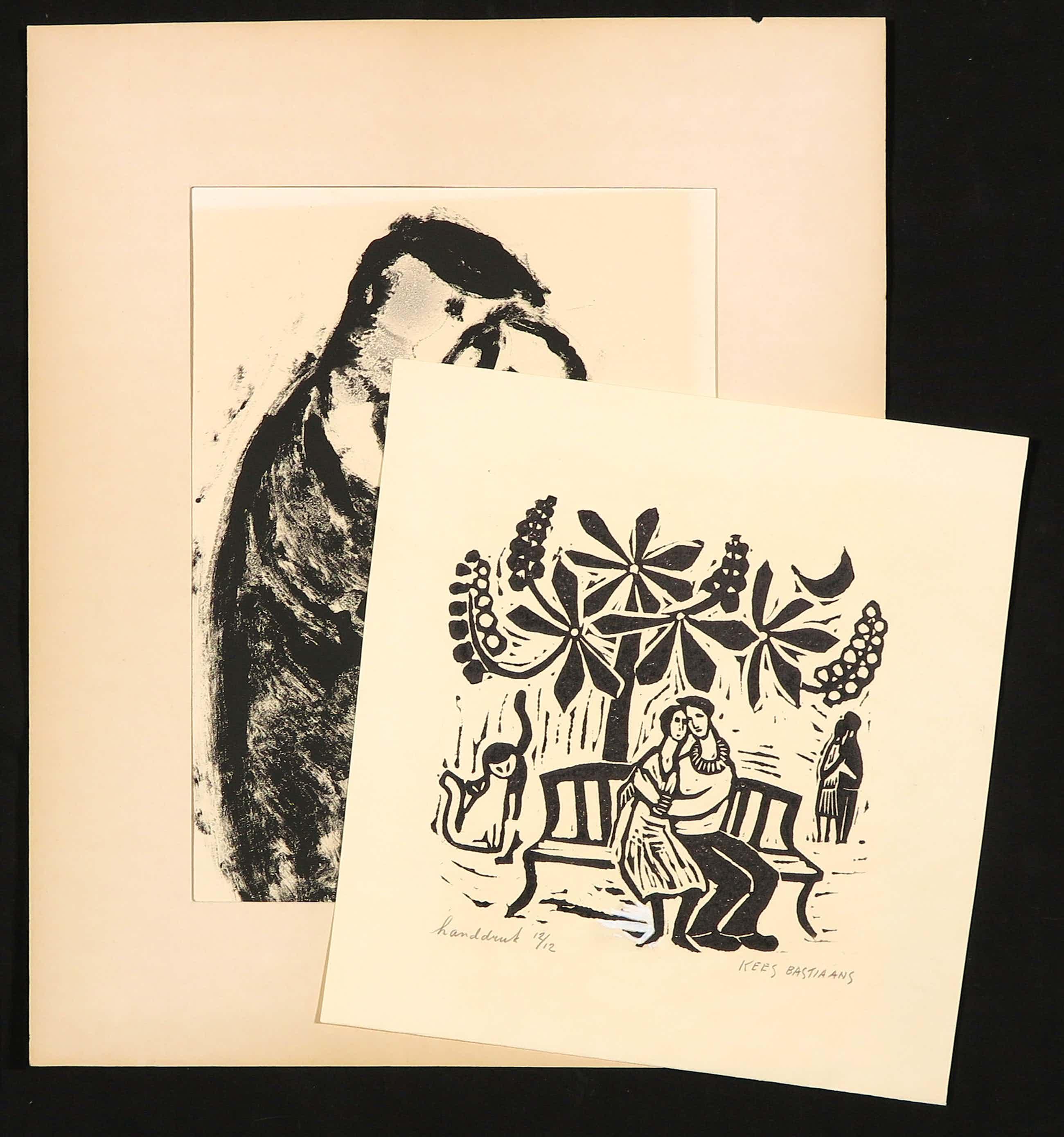 Kees Bastiaans - Lot van twee stuks grafiek, Omhelzing kopen? Bied vanaf 370!