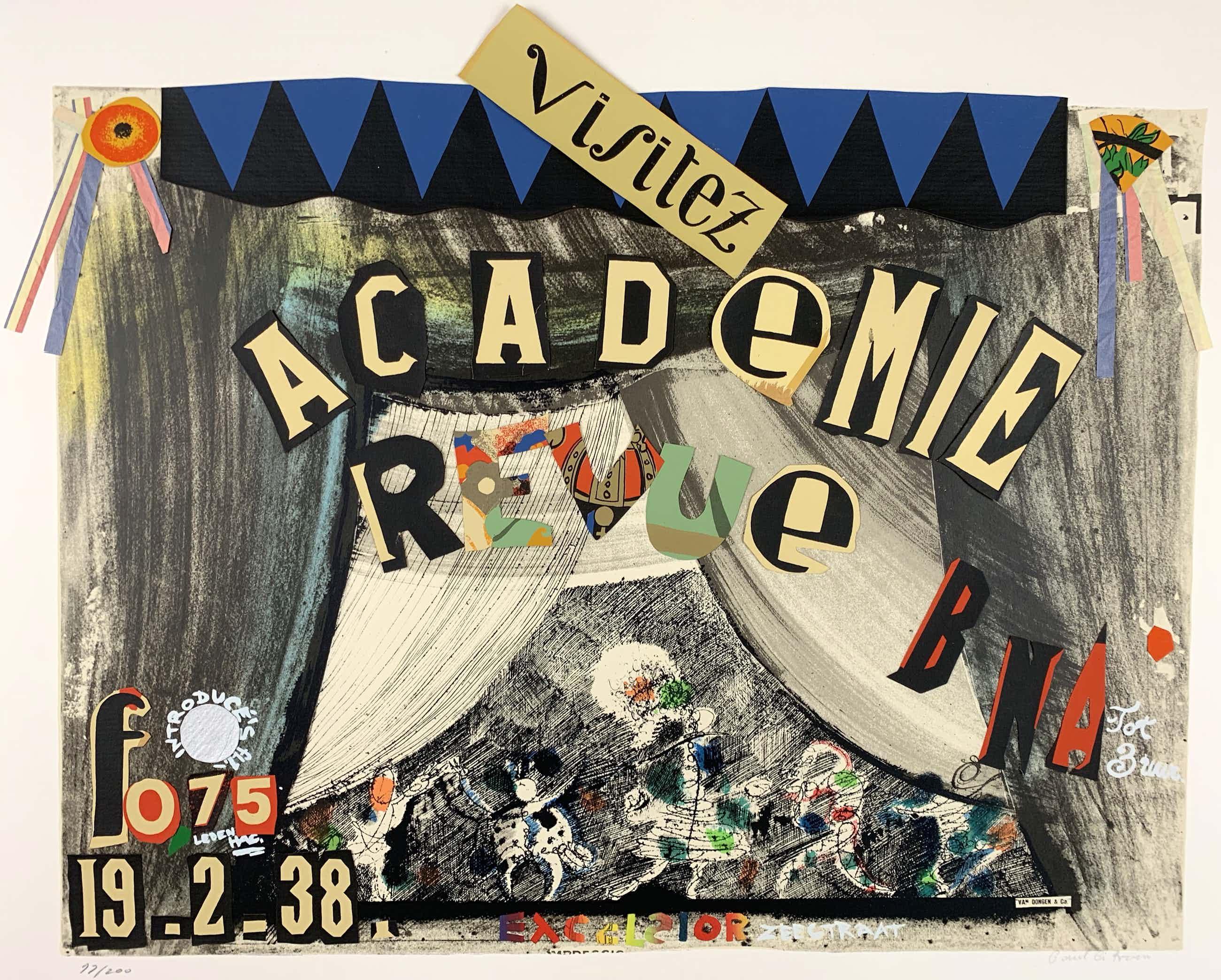 Paul Citroen - collage/litho - 'Academie revue' - 1982 kopen? Bied vanaf 160!