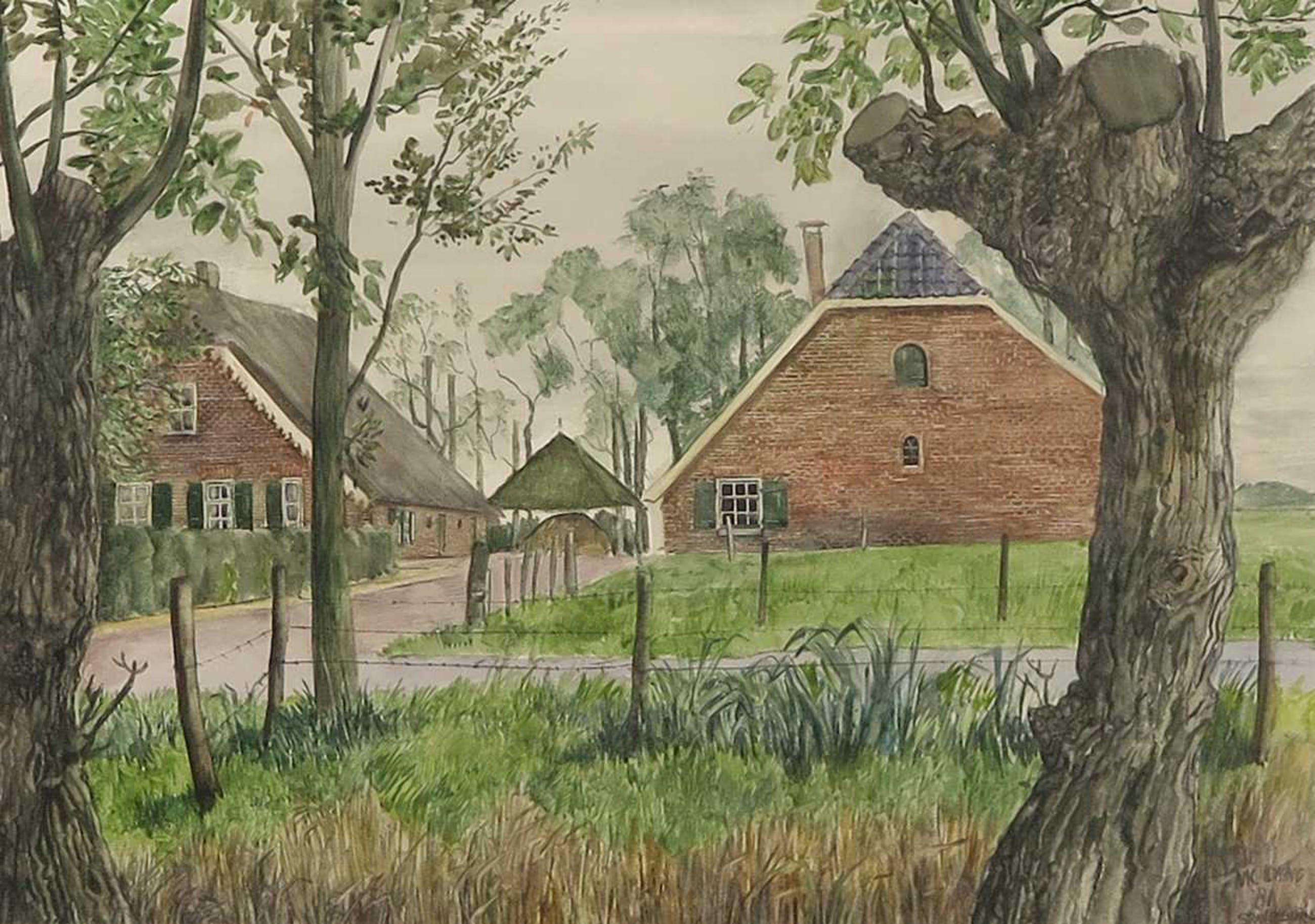 Nic Loning - aquarel 'Stoutenburg' - 1981. kopen? Bied vanaf 1!